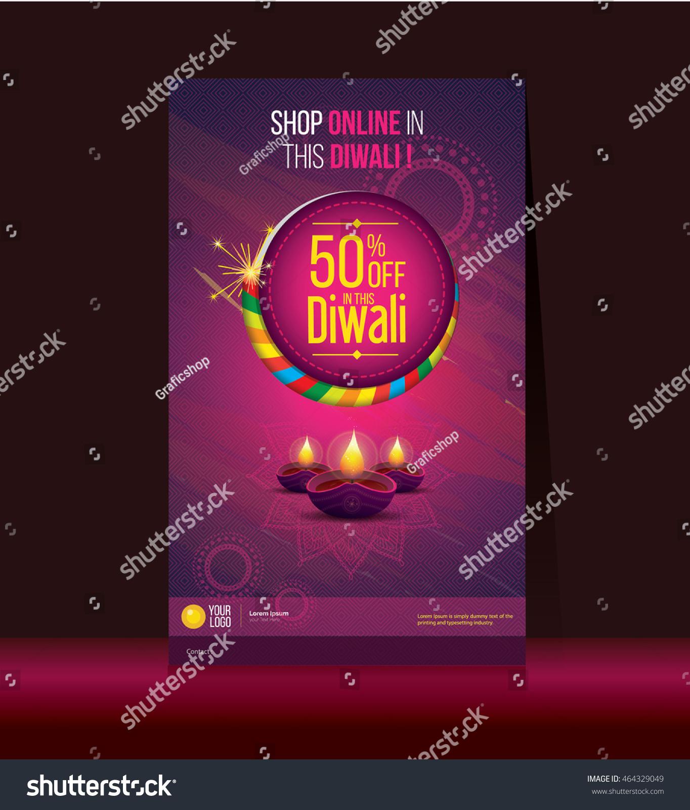 Diwali Festival Offer Poster Design Template Stock Vector (Royalty ...