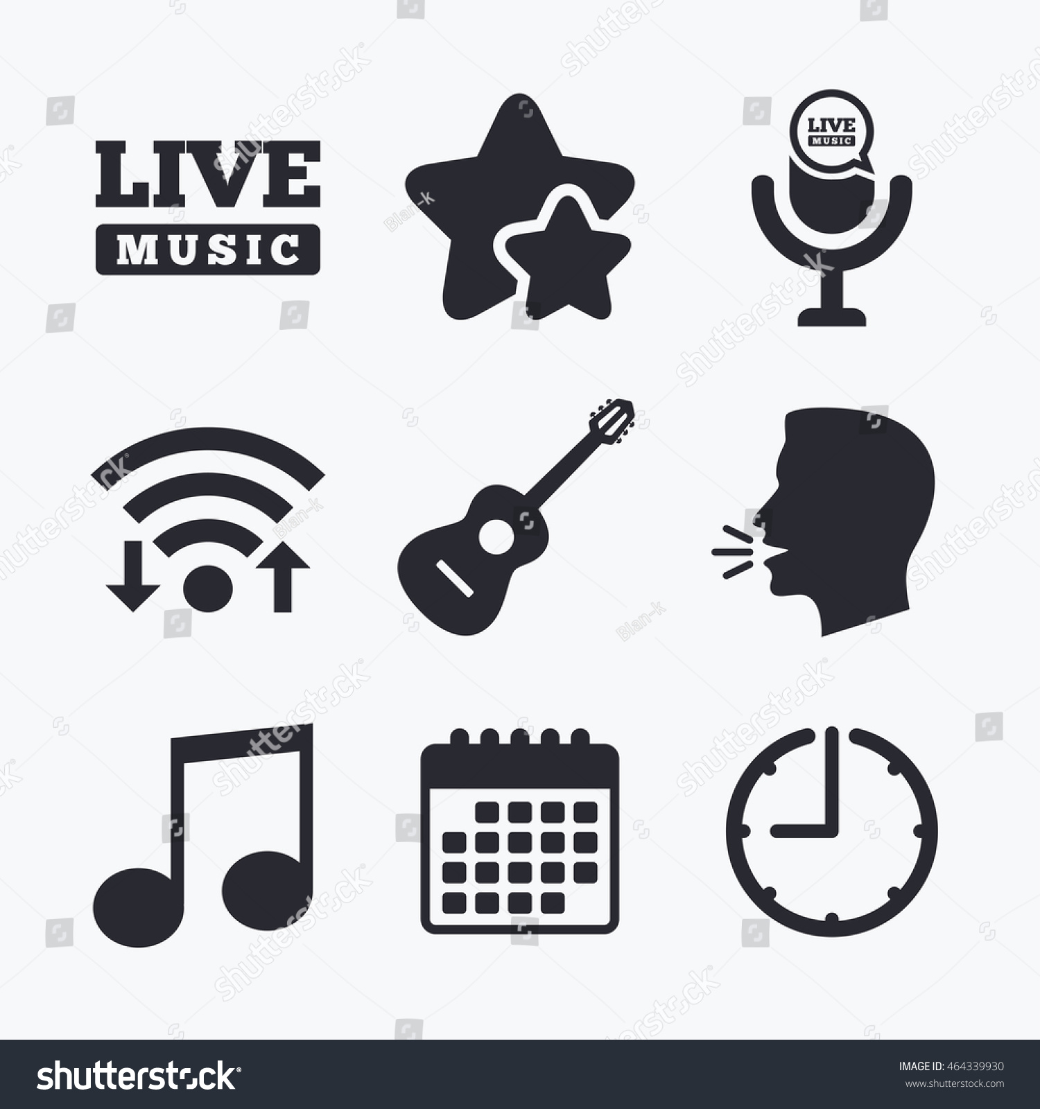 Musical elements icons microphone live music stock illustration musical elements icons microphone and live music symbols music note and acoustic guitar signs buycottarizona