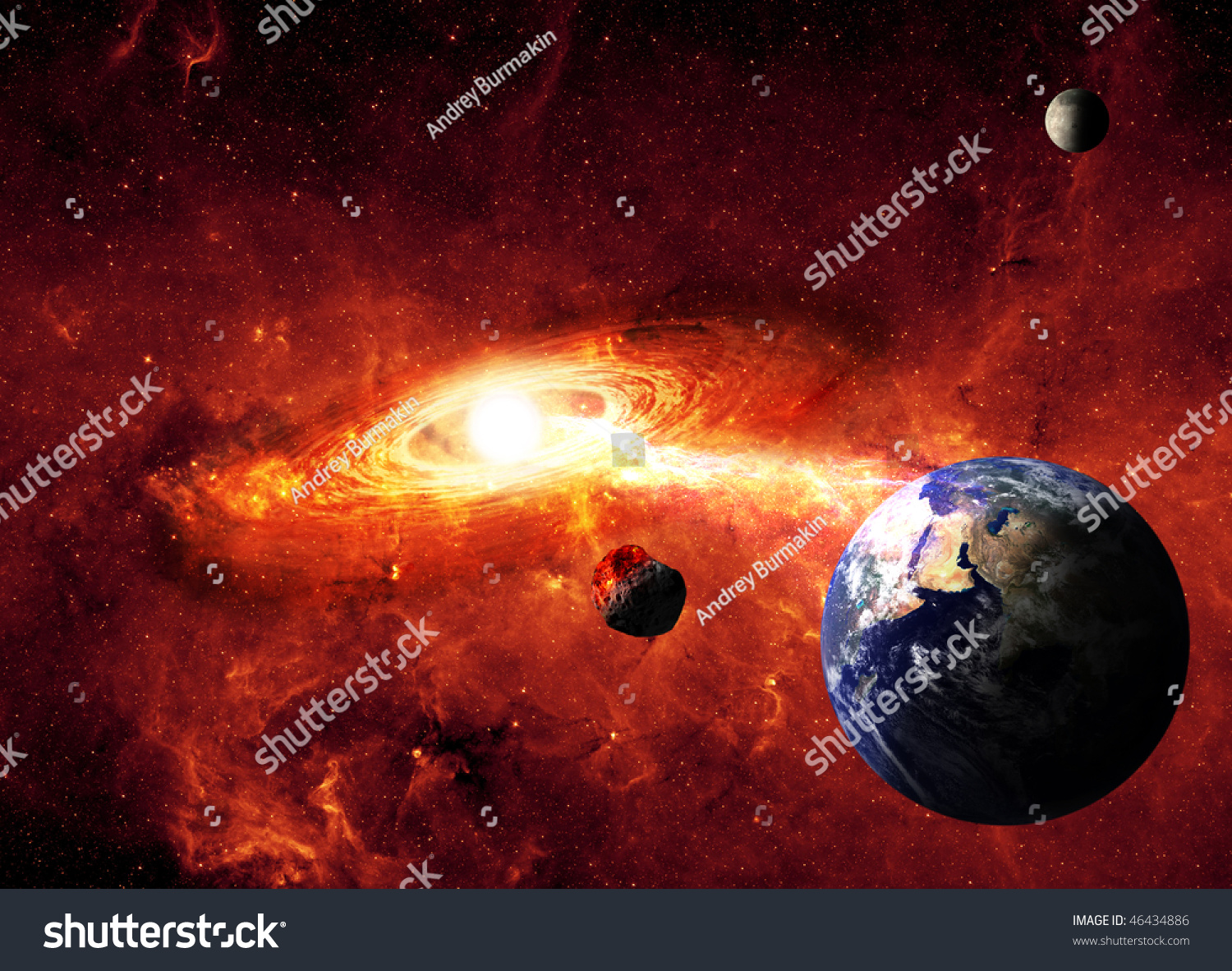 Meteor Falling To The Earth Stock Photo 46434886 ...