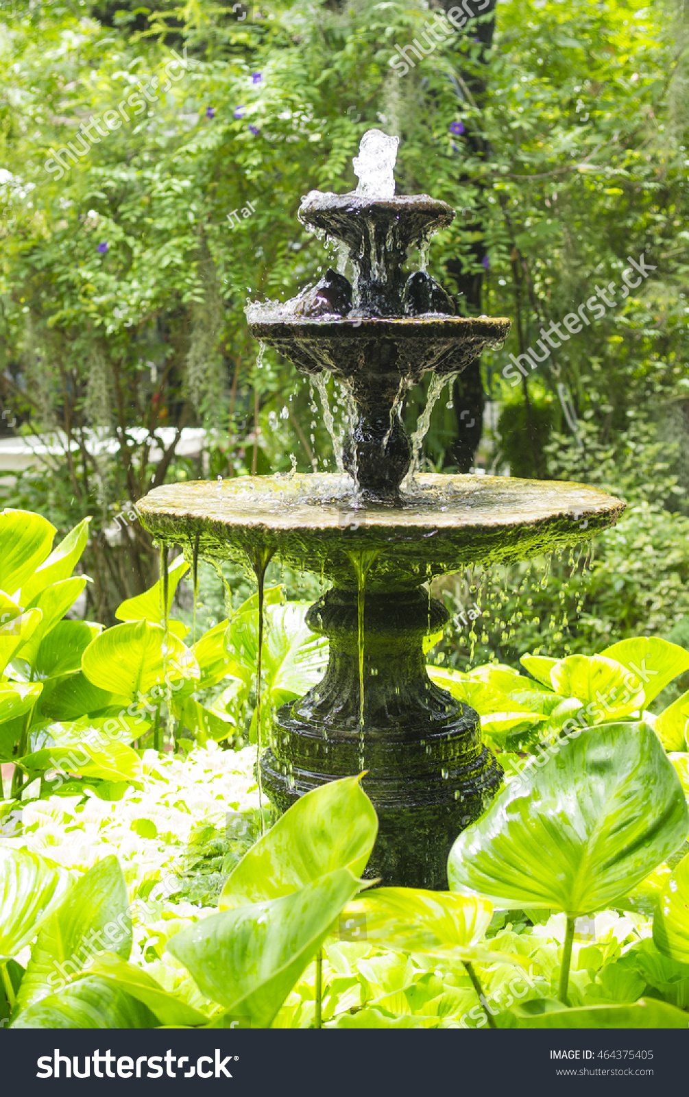 Small Water Fountain In The English Garden