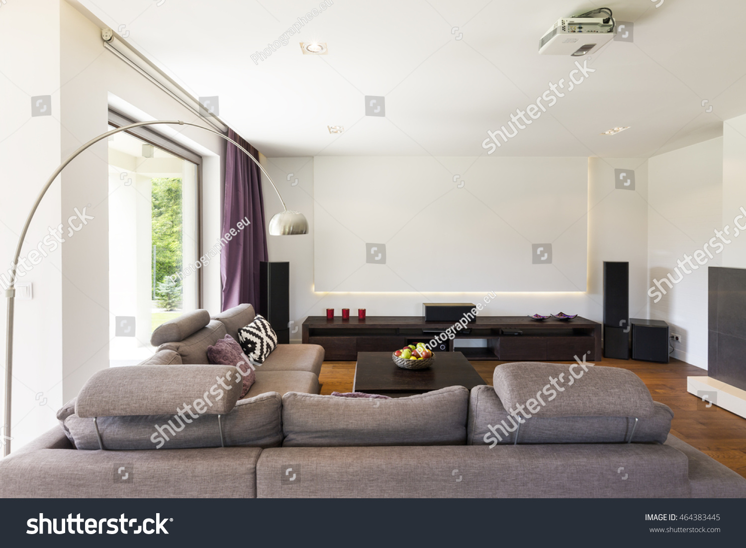 Light Spacious Living Room Projector Extra Stock Photo (Safe to Use ...