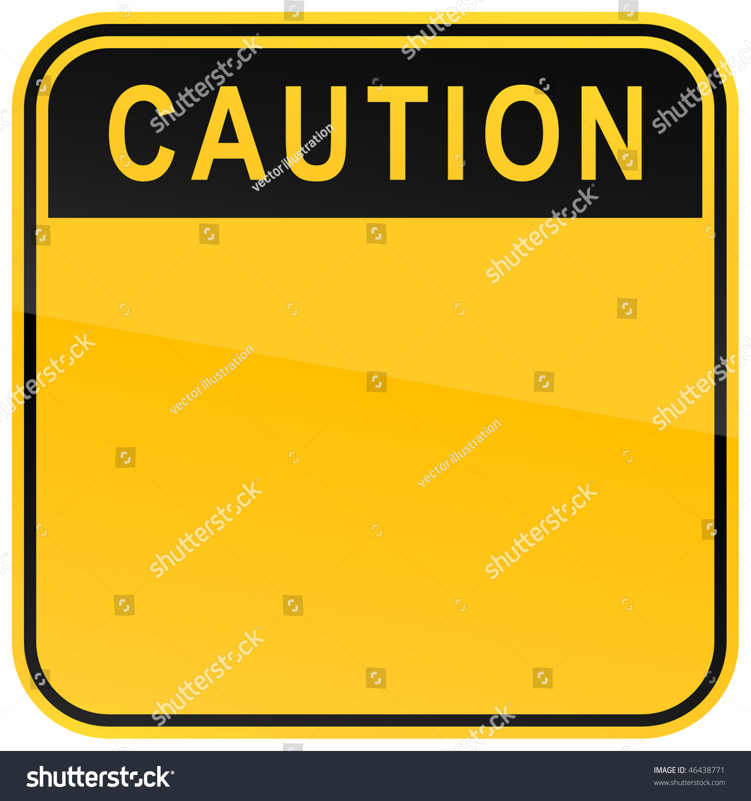 Yellow Warning Blank Caution Sign On Stock Vector 46438771 ...