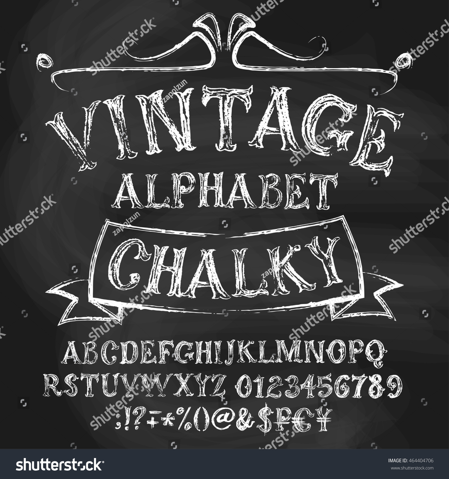 Chalk roman alphabetical set vintage uppercase stock vector vintage uppercase letters numbers special signs and money symbols biocorpaavc Choice Image