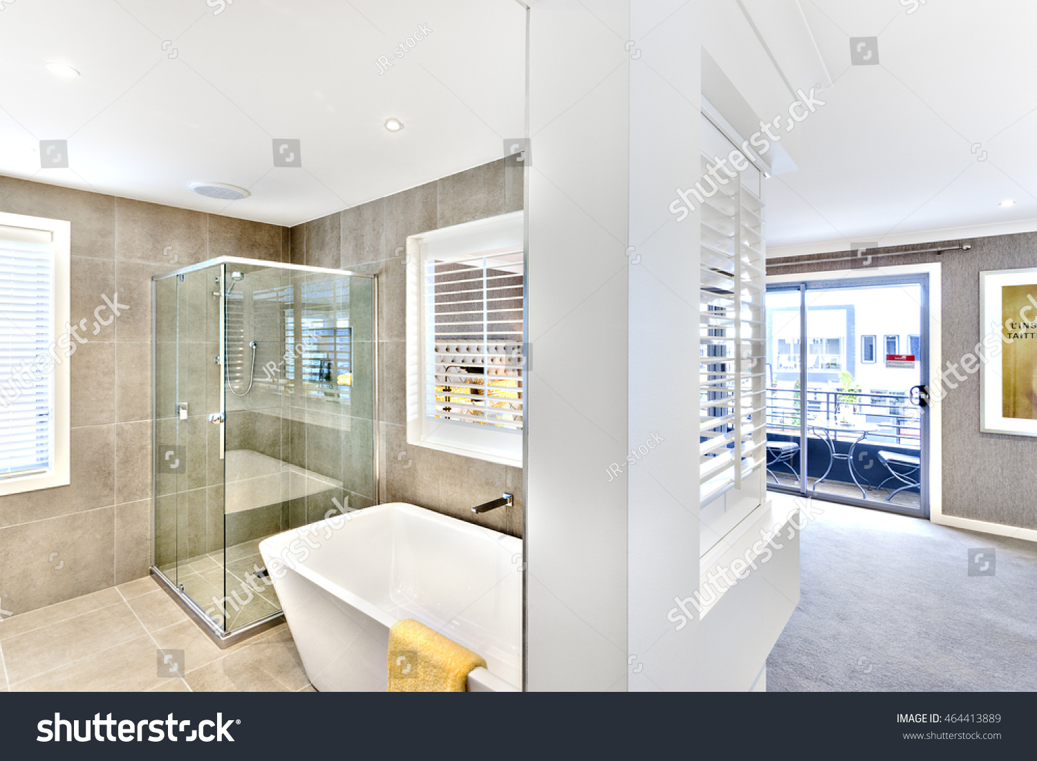 Modern Washroom Attached Hallway Outside Windows Stock Photo ...