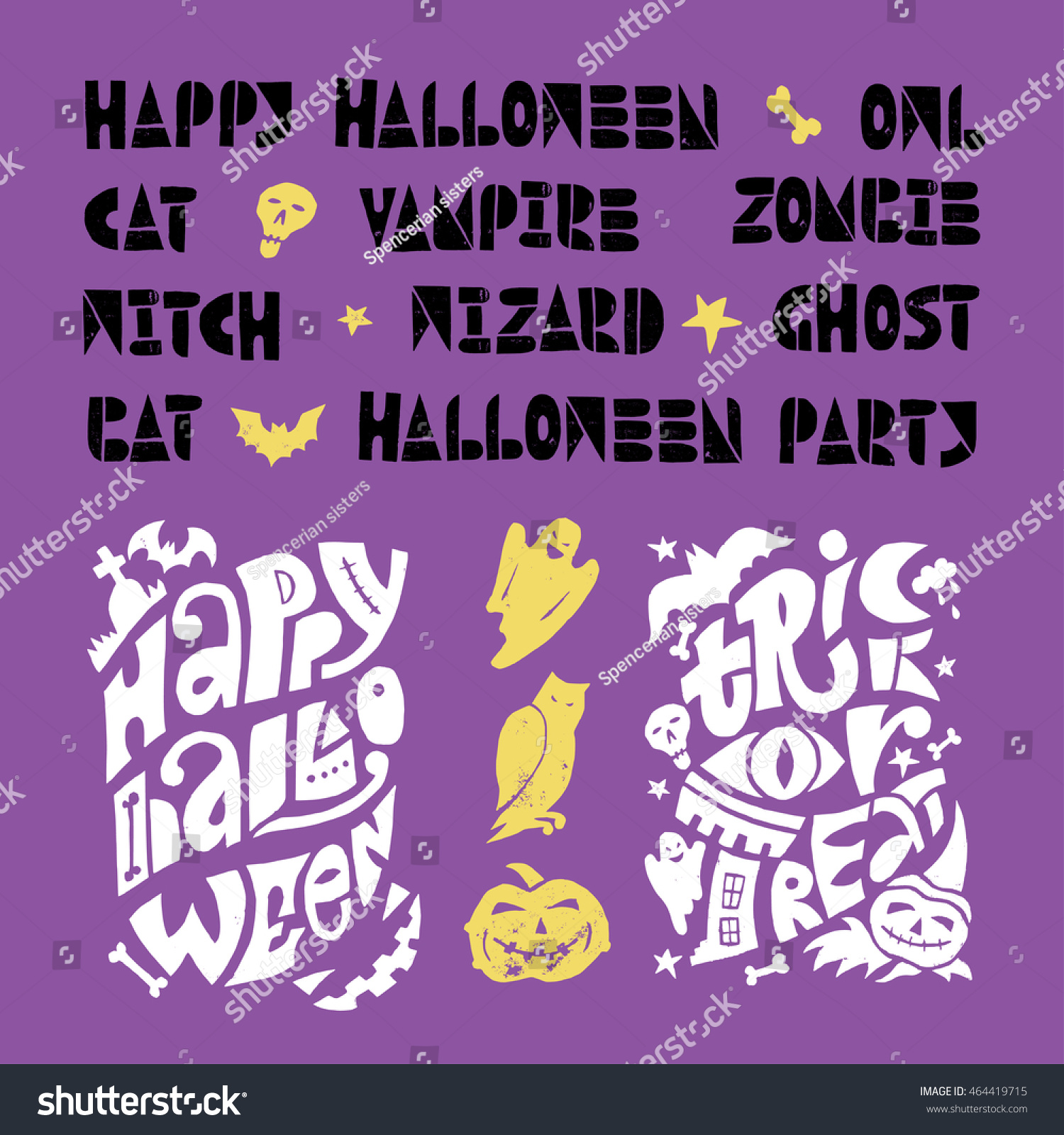 Happy Halloween lino cut vector elements on textured background