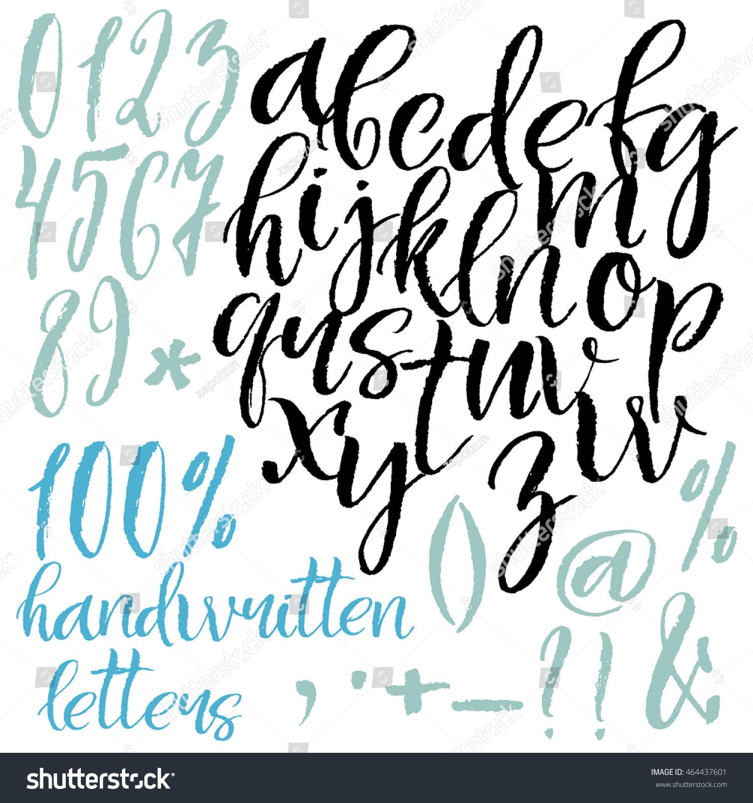 Modern Calligraphy Roman Alphabetical Set Lowercase Stock Vector