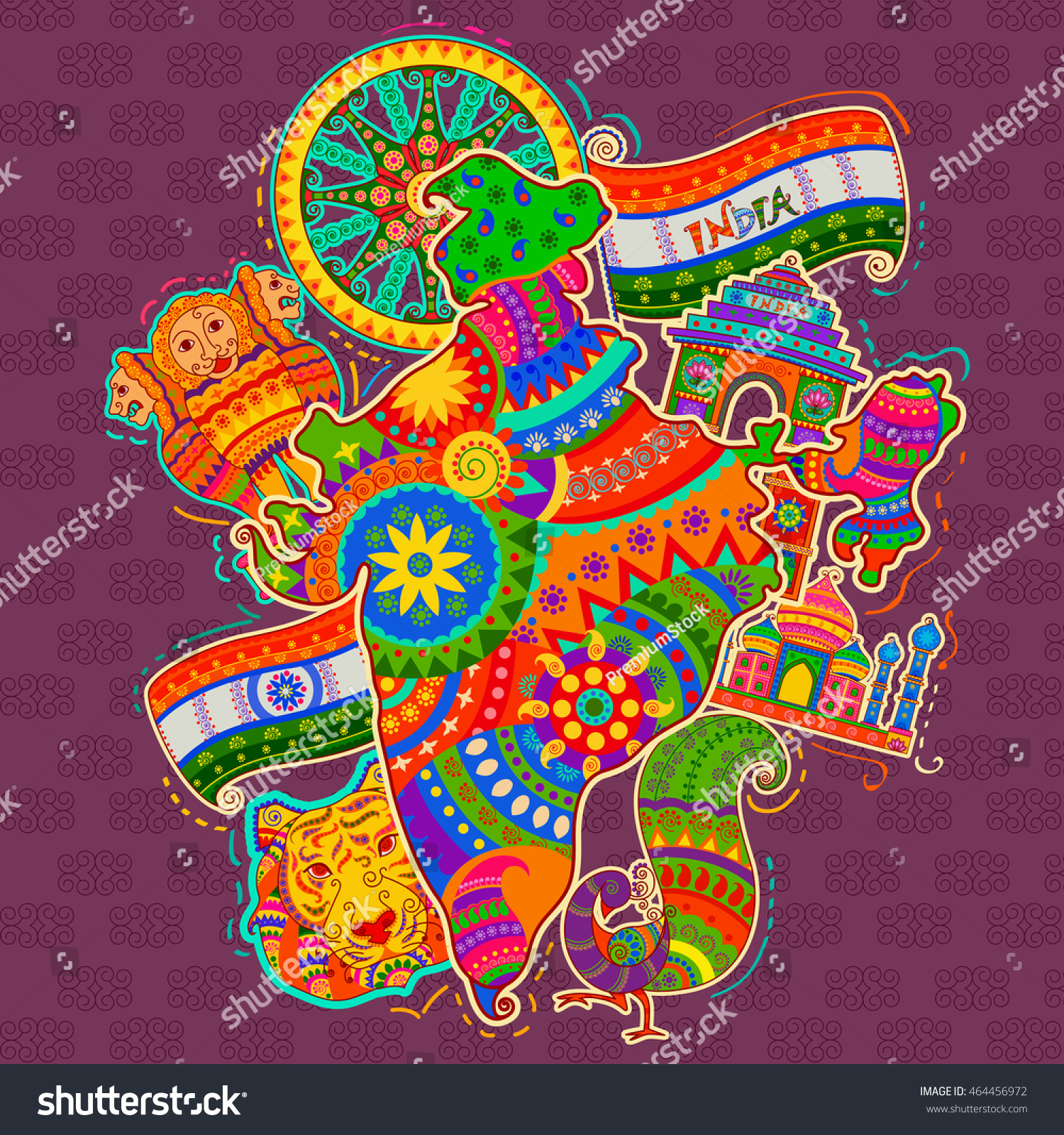 Art From India Indian Culture: Vector Design Monument Culture India Indian Stock Vector