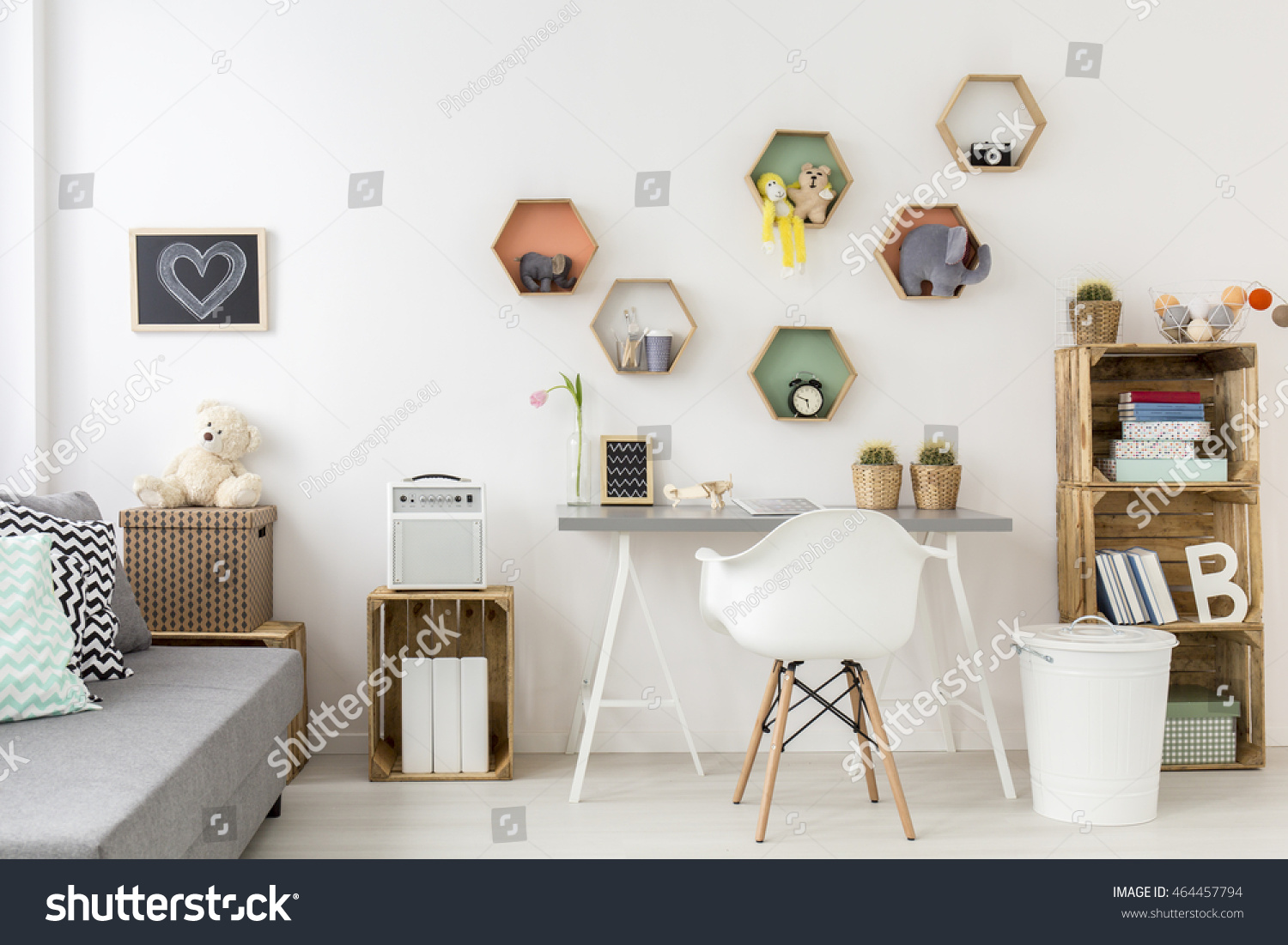 White stylish children room cozy space stock photo 464457794 white stylish children room with cozy space for studying by the wall shelf made of amipublicfo Images