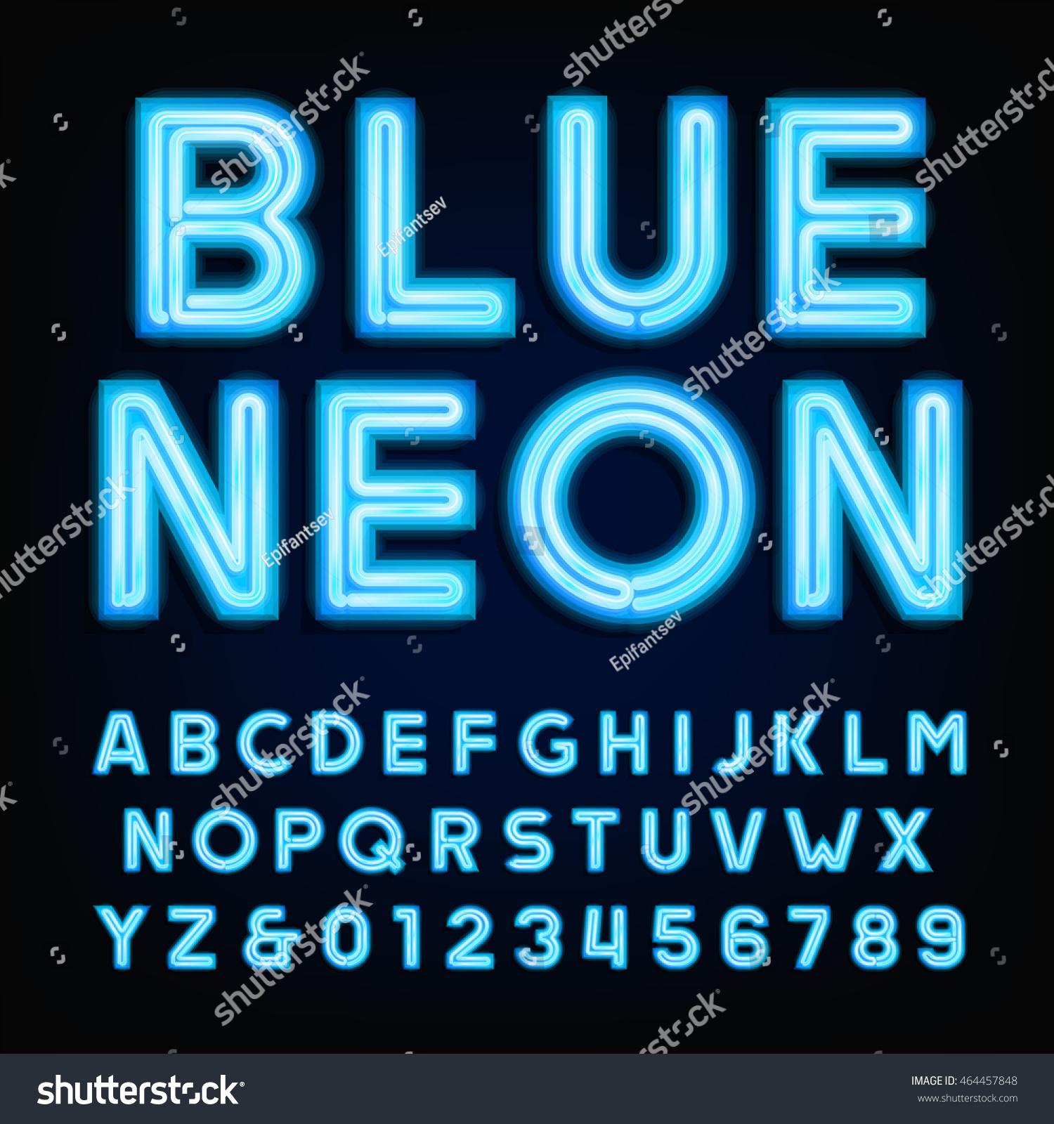 blue neon tube alphabet font type stock vector 464457848. Black Bedroom Furniture Sets. Home Design Ideas