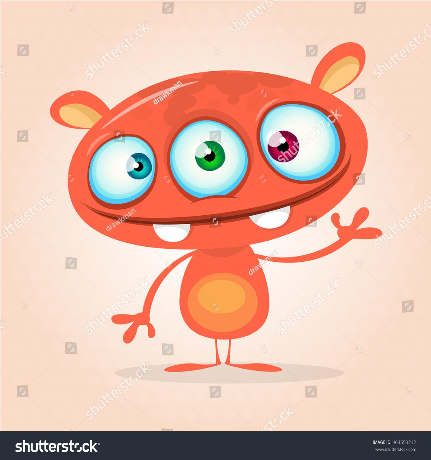 vector cute cartoon monster alien halloween stock vector 464553212