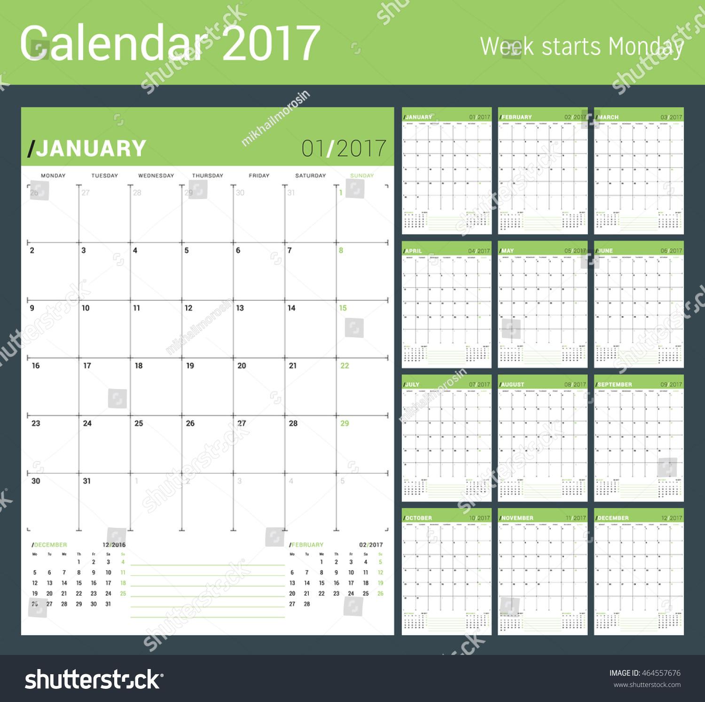 Calendar Planner Vector : Vector print template monthly calendar planner stock