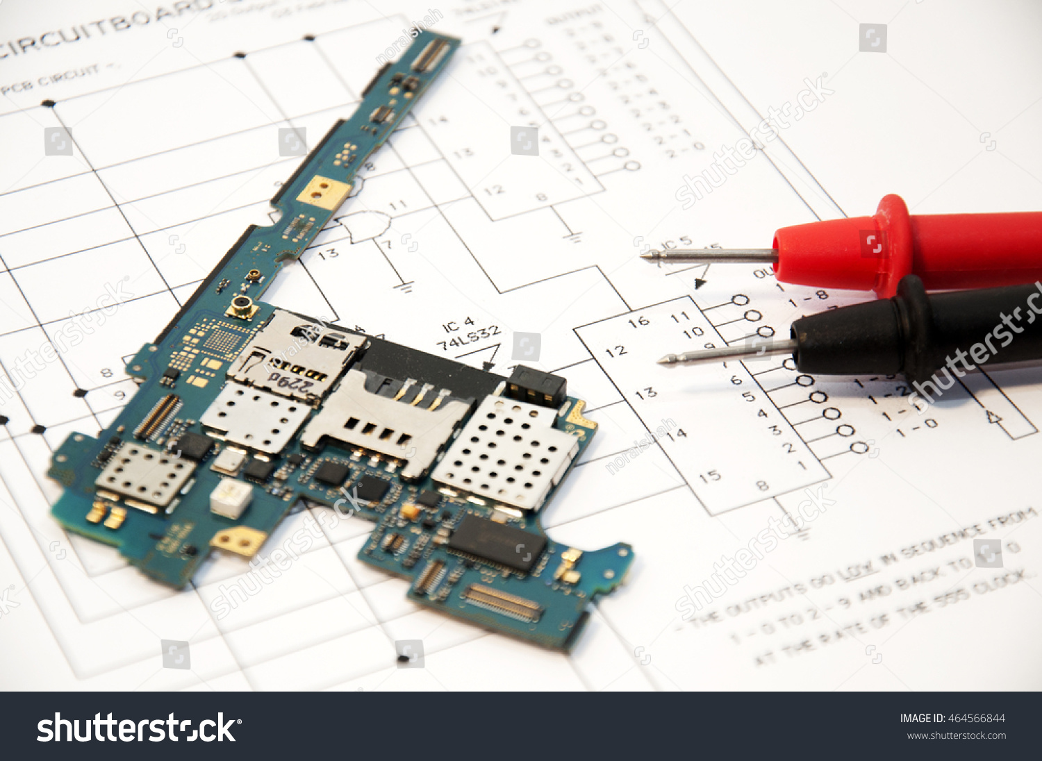 Electronic Schematics Circuit Board Tester Probes Stock Photo Edit With And