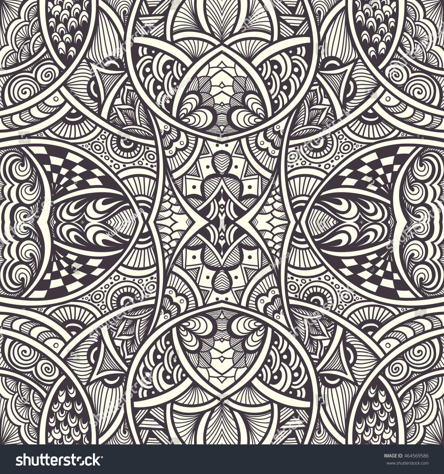 Abstract Background With Seamless Zen Doodle Or Tangle Pattern Black On White For Coloring Page