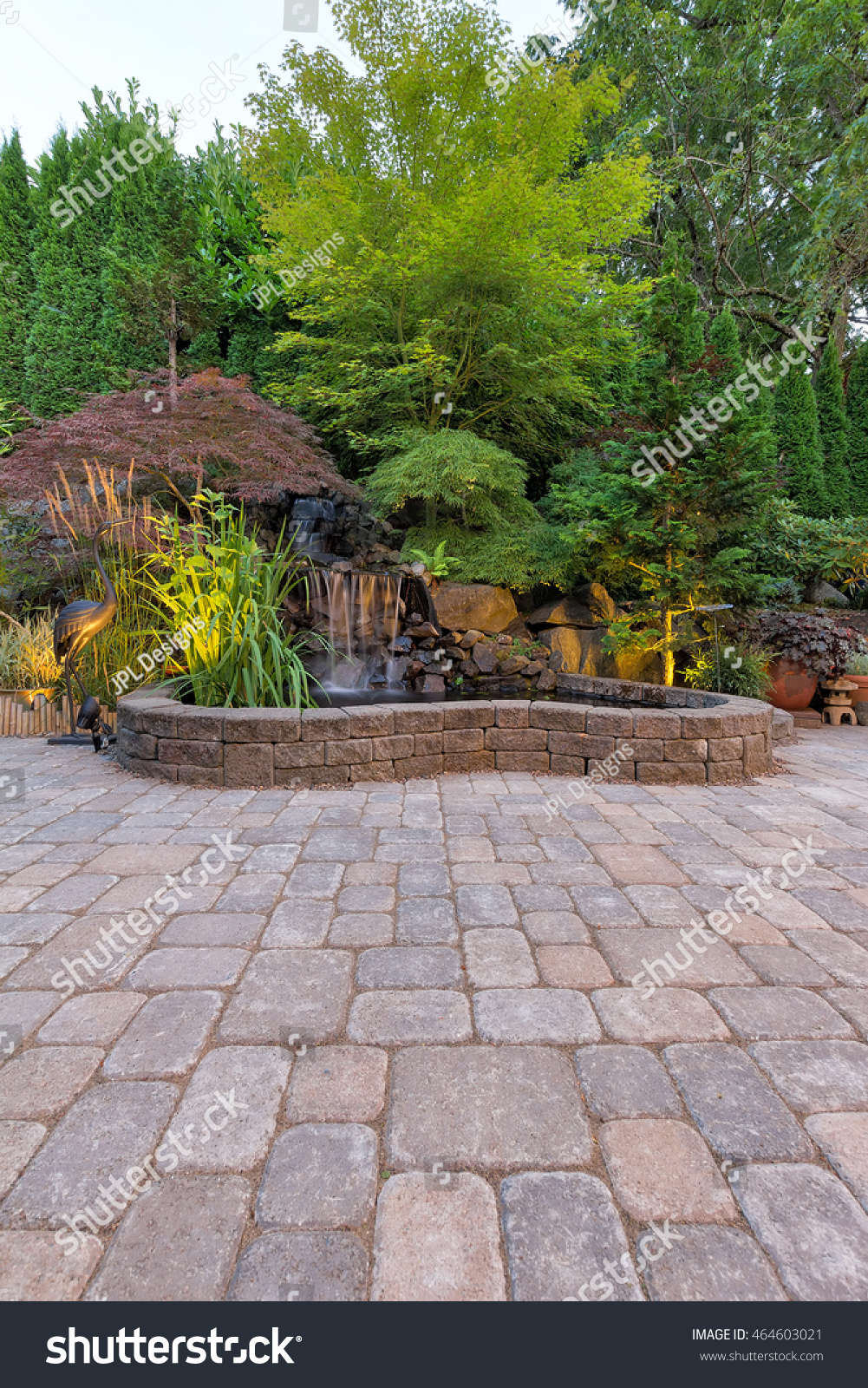 Backyard Garden Paver Brick Patio With Waterfall Pond And Landscaping