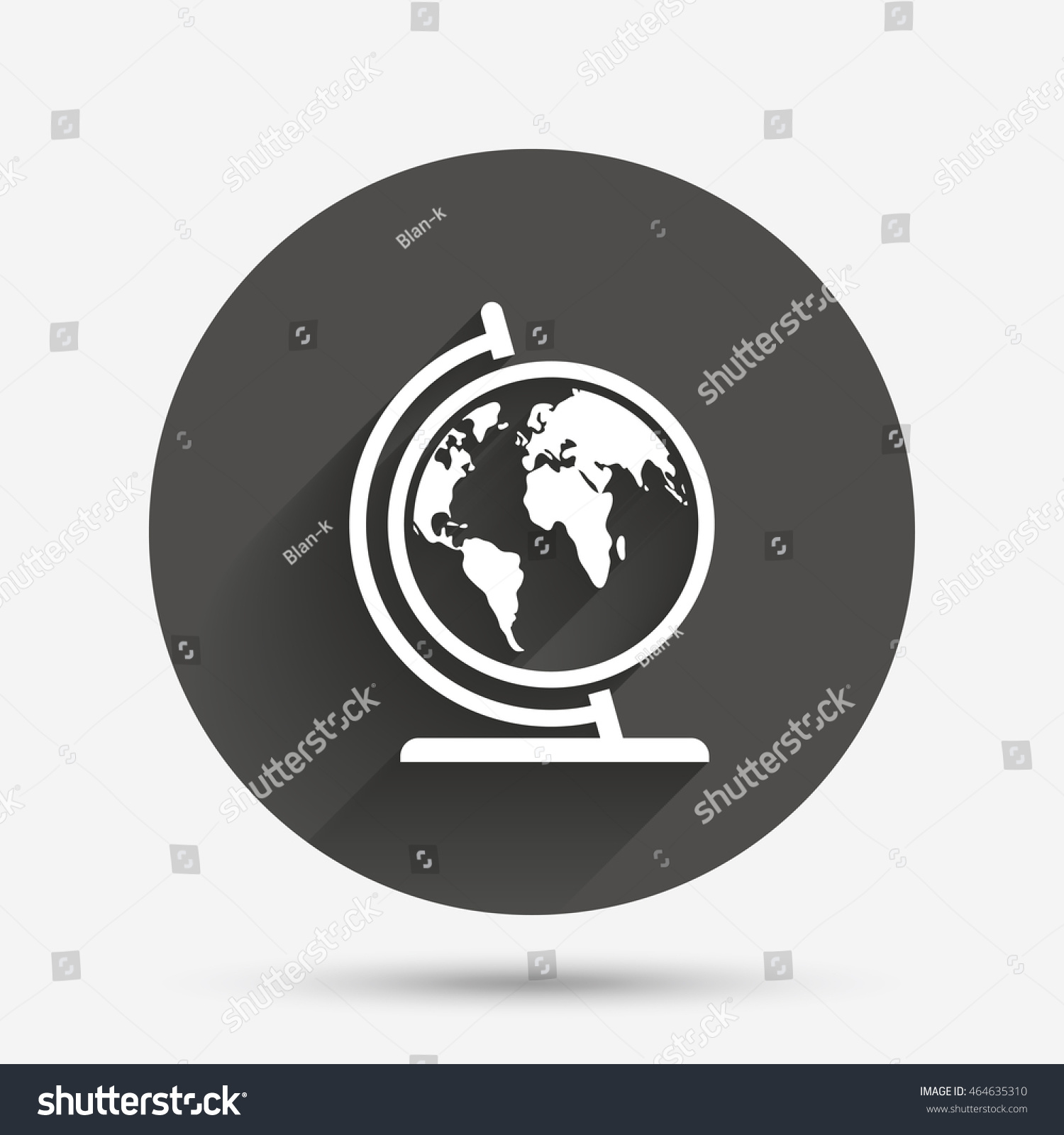 Globe sign icon world map geography stock vector 464635310 world map geography symbol globe on stand for studying circle gumiabroncs Images
