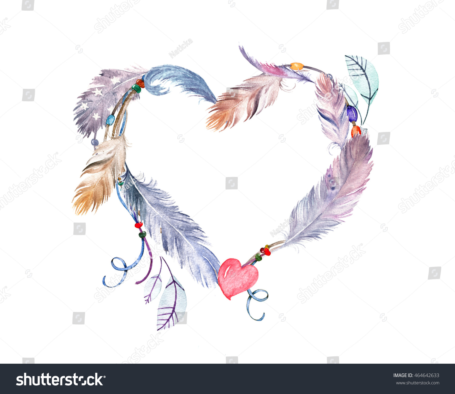 Watercolor Feathers Frame Hand Drawn Boho Stock Illustration 464642633