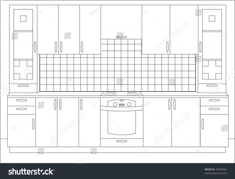 Draft of kitchen kitchen interior kitchen furniture for Kitchen design vector