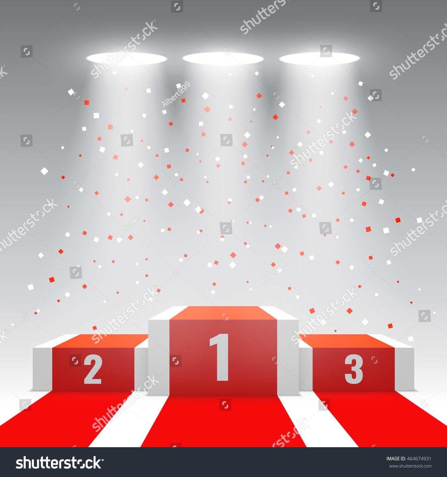 White Winners Podium Red Carpet Confetti Stock Vector
