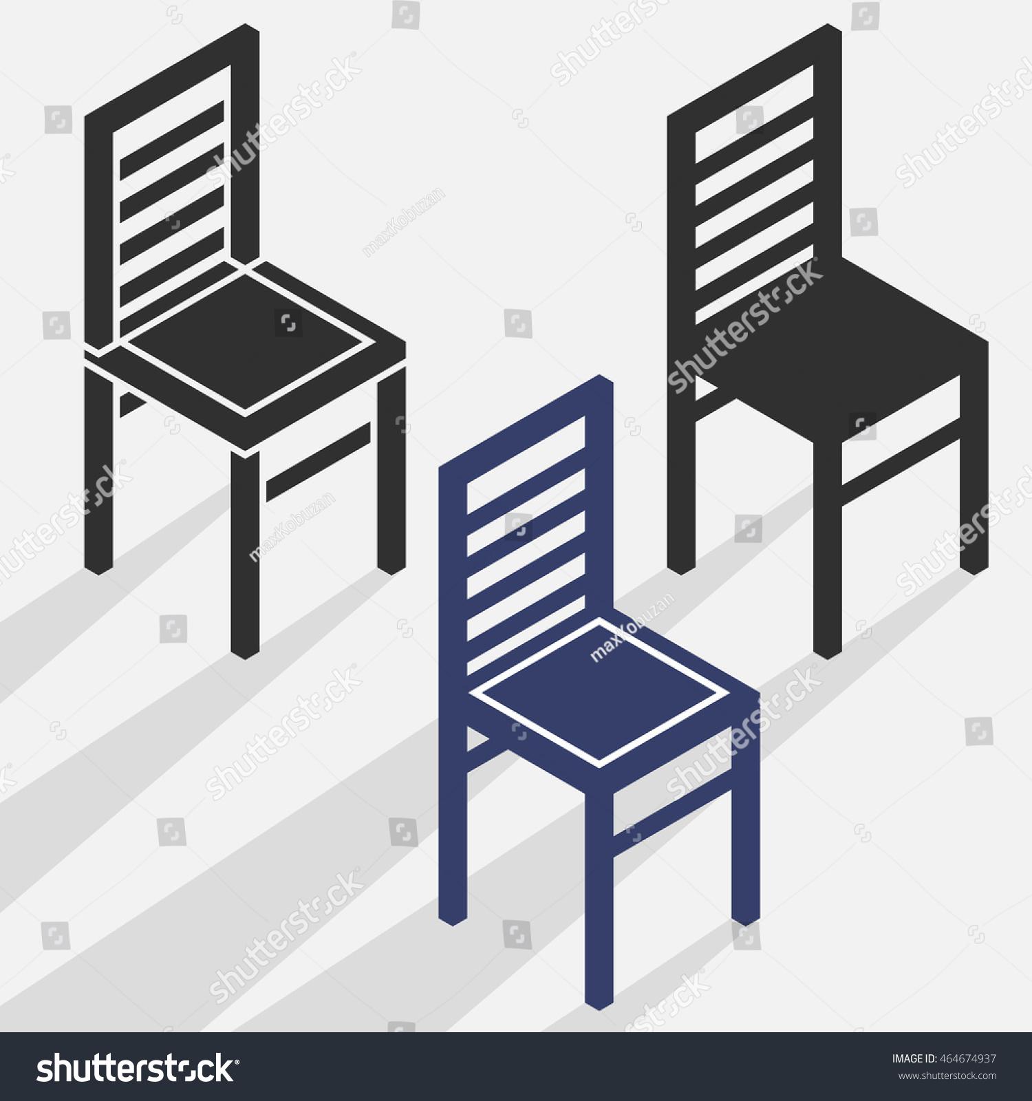 Isometric Flat Chair Sign Logo Vector Stock Vector