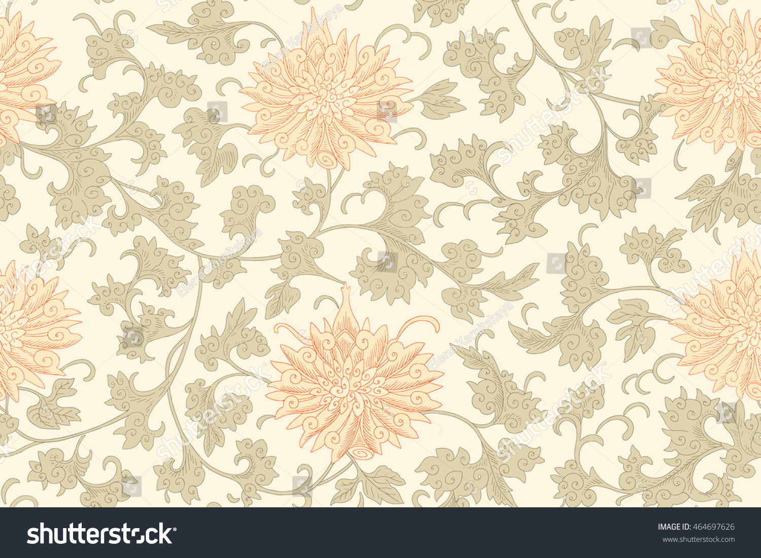 Traditional Chinese Floral Seamless Pattern Your Stock