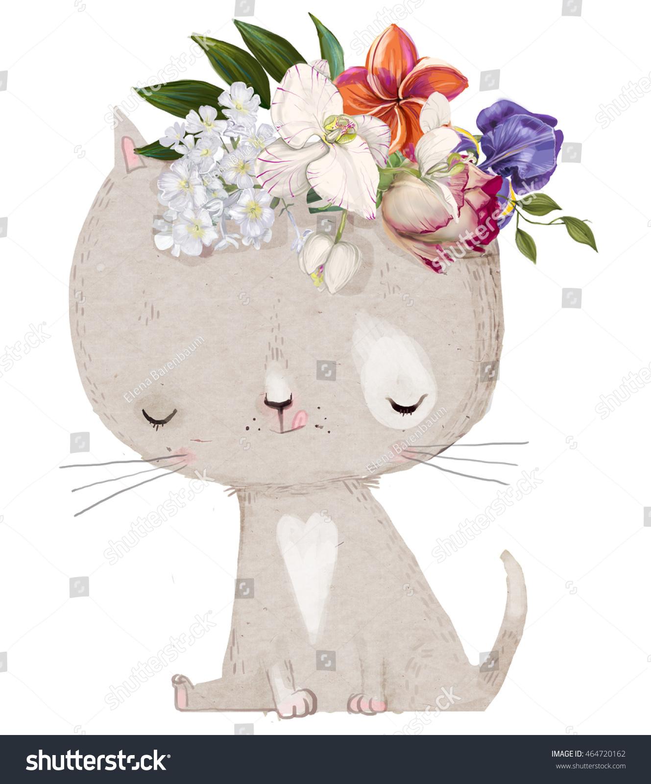 Cute Hand Drawn Kitten Floral Wreath Stock Illustration 464720162 ...