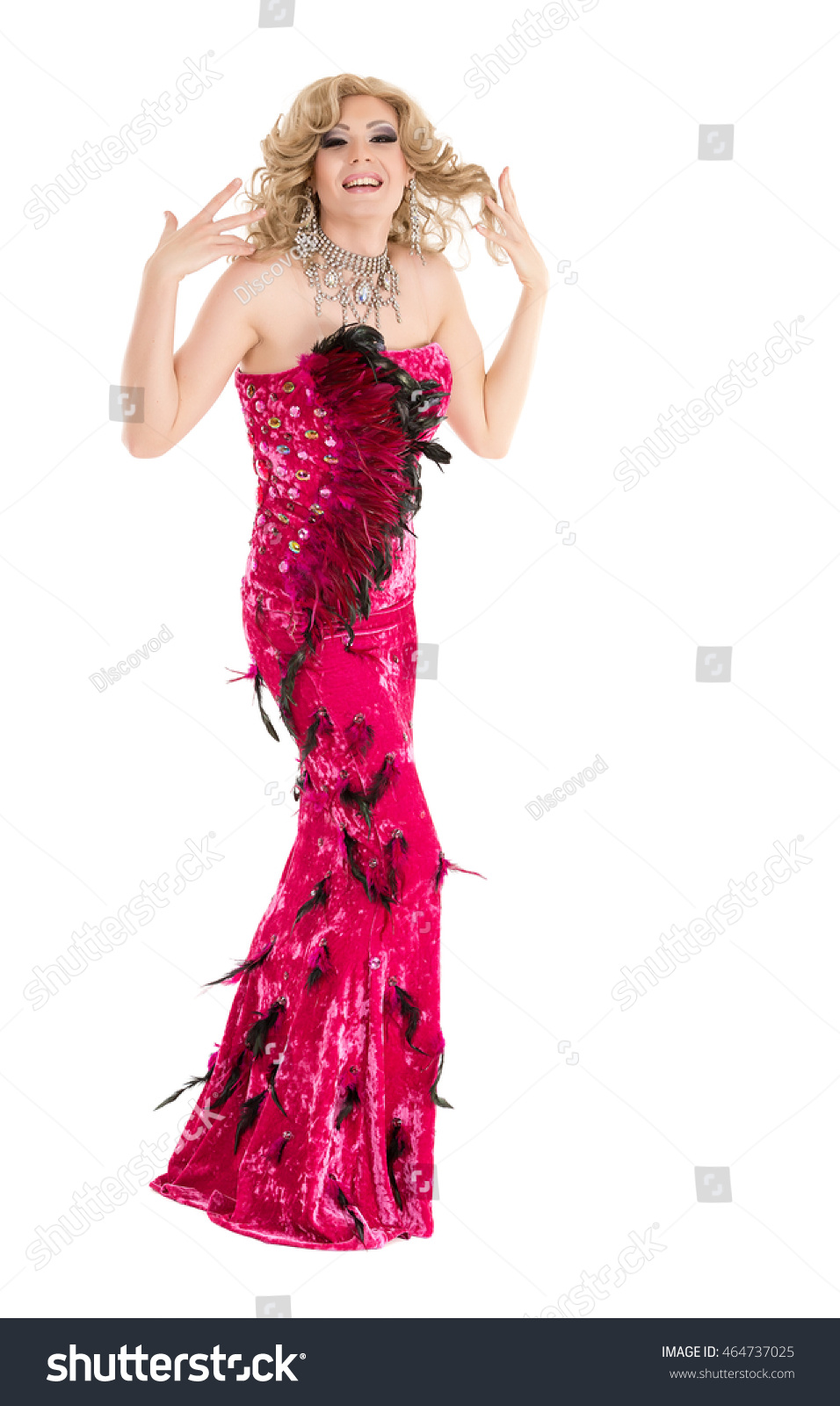 Drag Queen in Red Evening Dress Performing, on white background | EZ ...