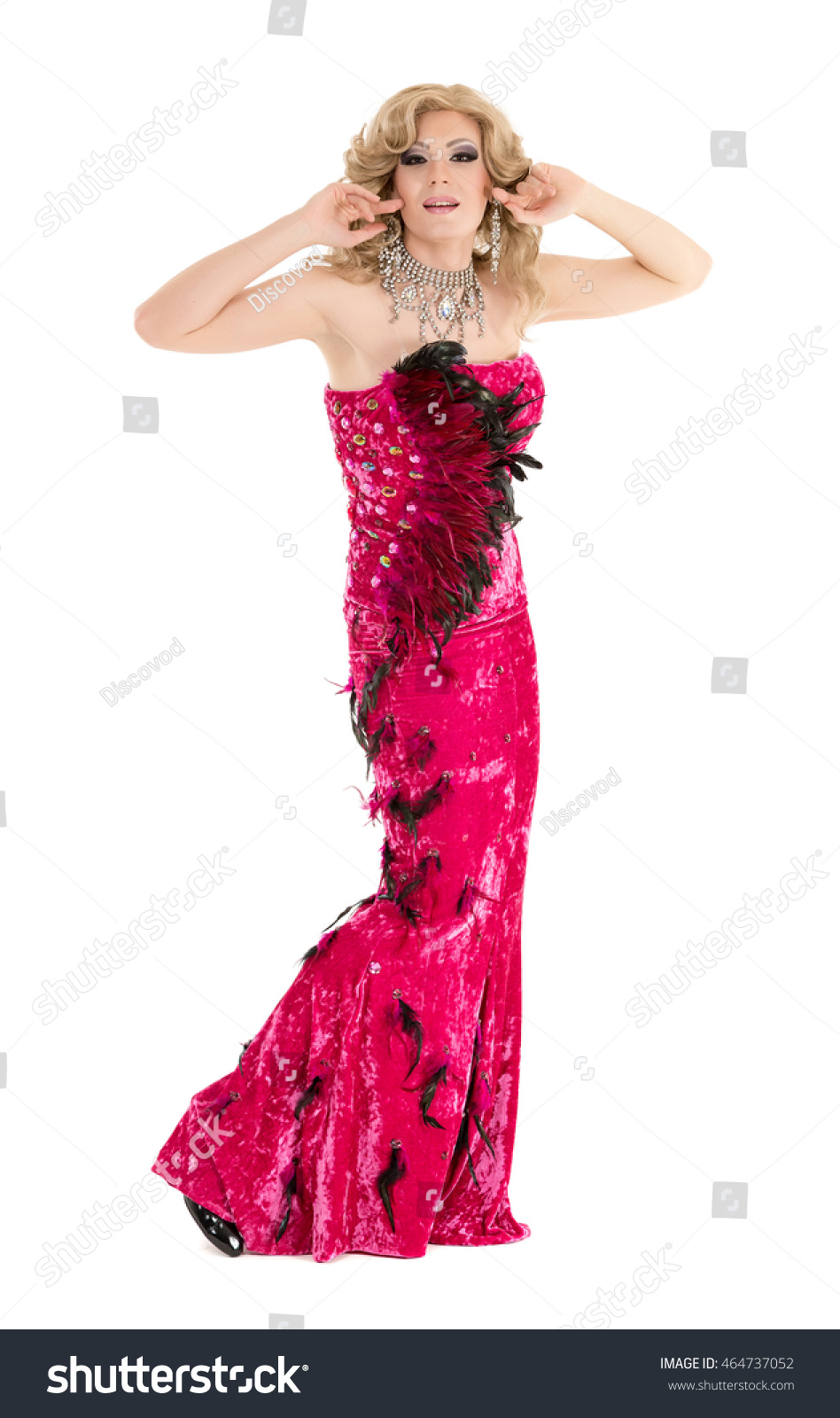 Drag Queen Red Evening Dress Performing Stock Photo (Edit Now ...
