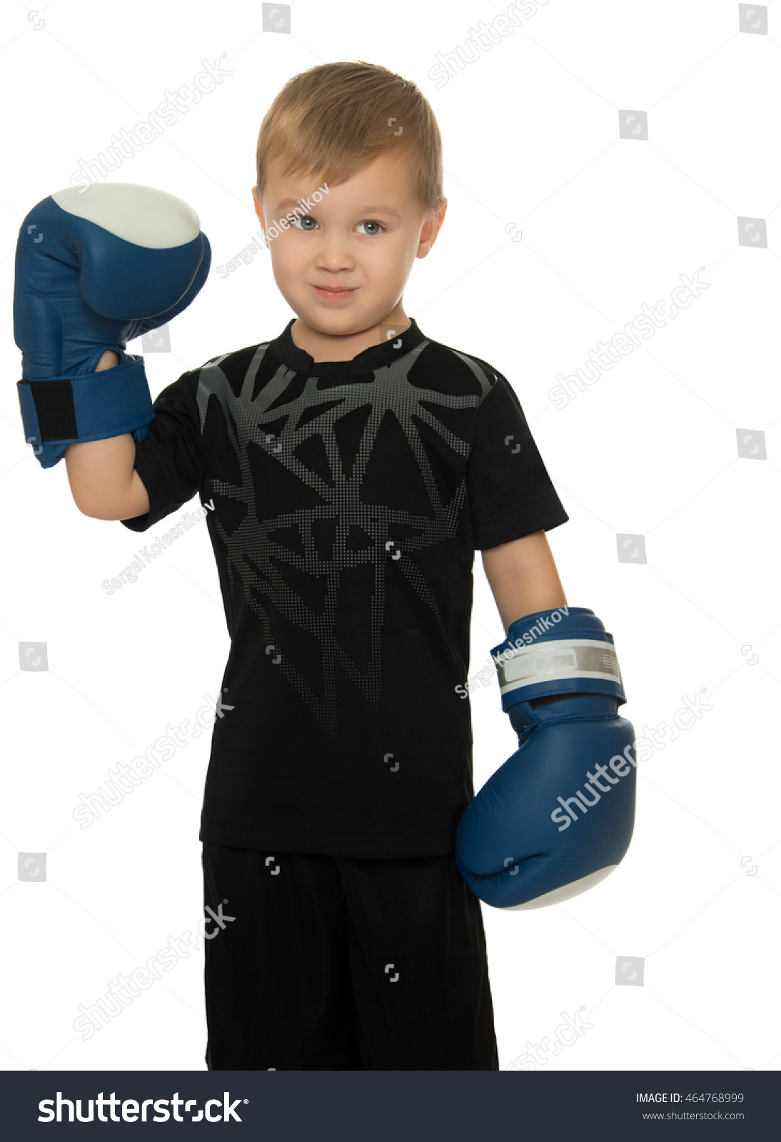 4fd350c86d10 Little boy engaged in Boxing. In his hands he's got the Boxing gloves. Close -up- Isolated on white background - Image
