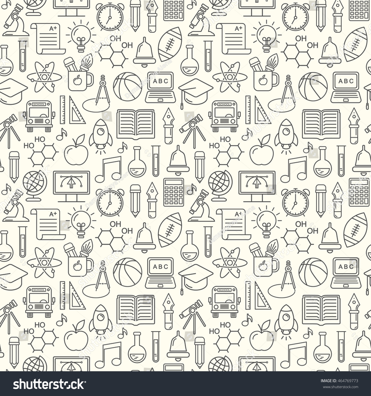 Modern Line Drawing Artists : Seamless vector school background education pattern stock