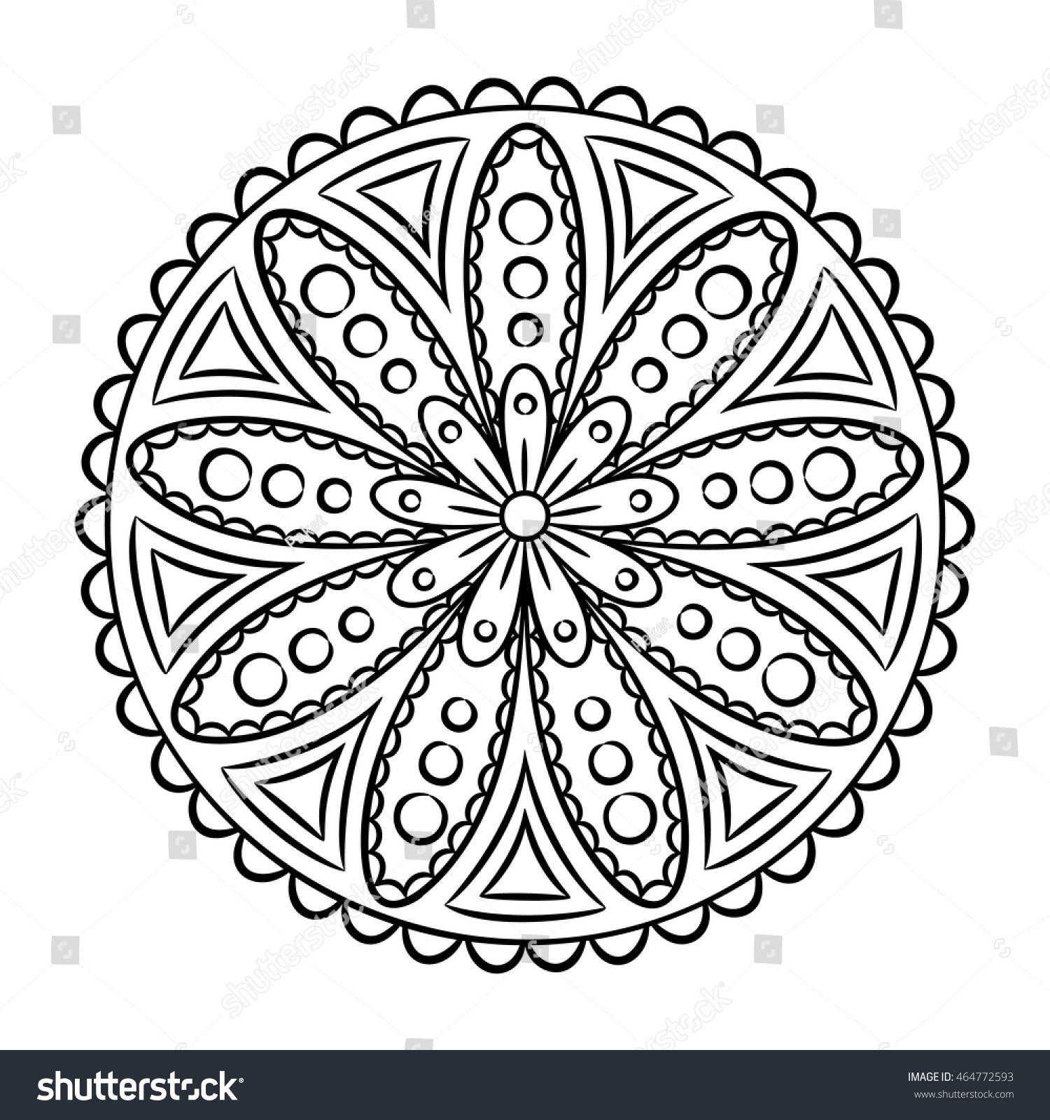 Doodle Mandala Coloring Page Outline Floral Stock Vector