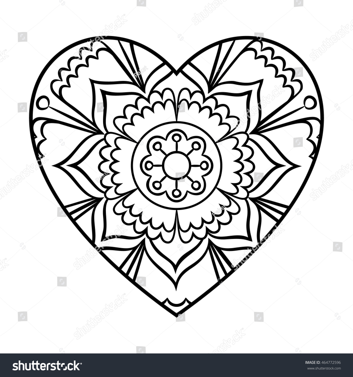 Doodle Heart Mandala Coloring Page Outline Stock Vector (Royalty ...