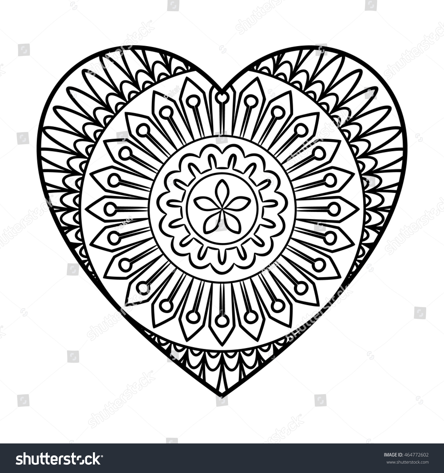 Doodle Heart Mandala Coloring Page Outline Stock Vector 464772602 ...