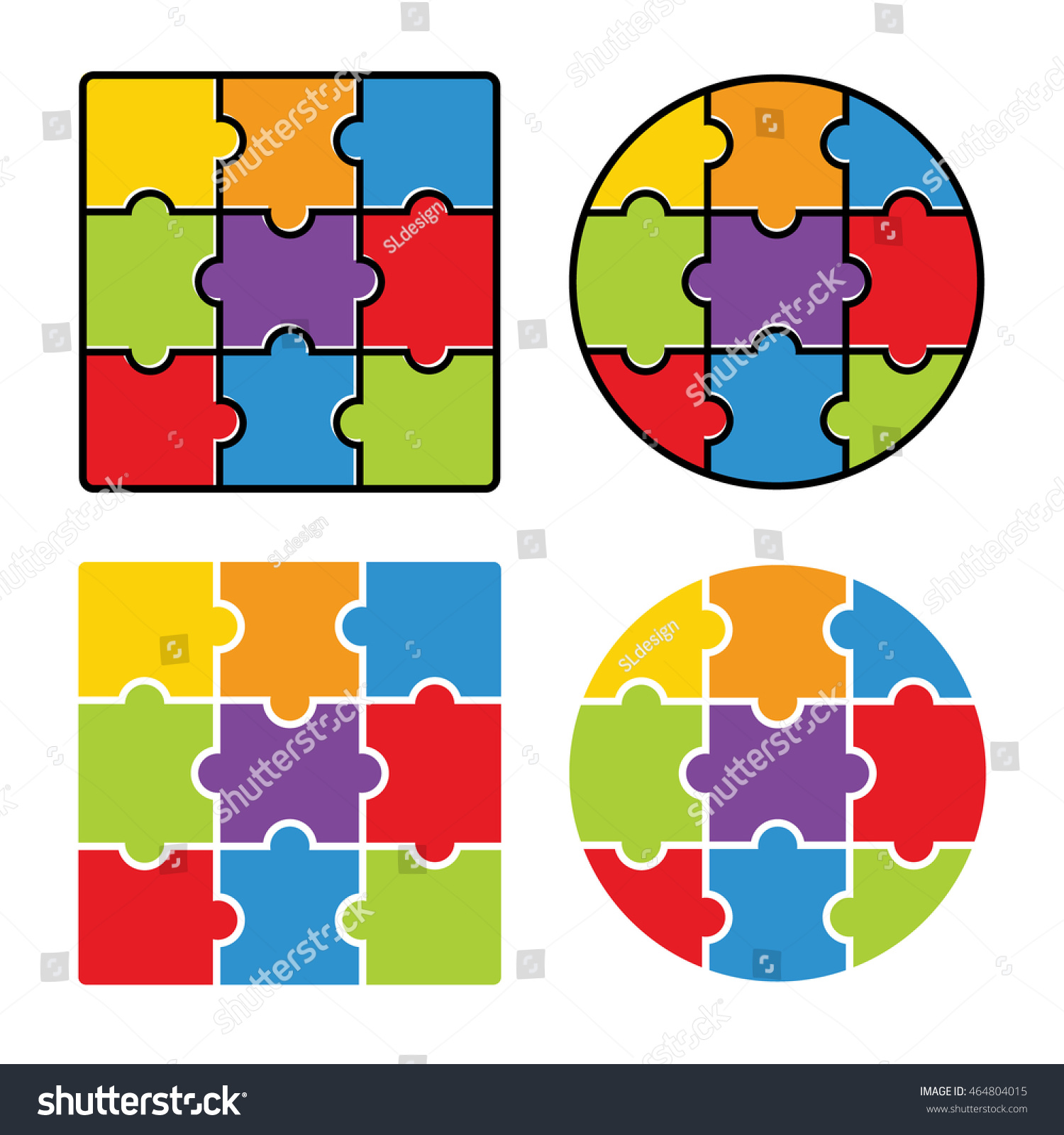 Jigsaw Puzzle Blank Simple Template 3 Image Vectorielle 464804015