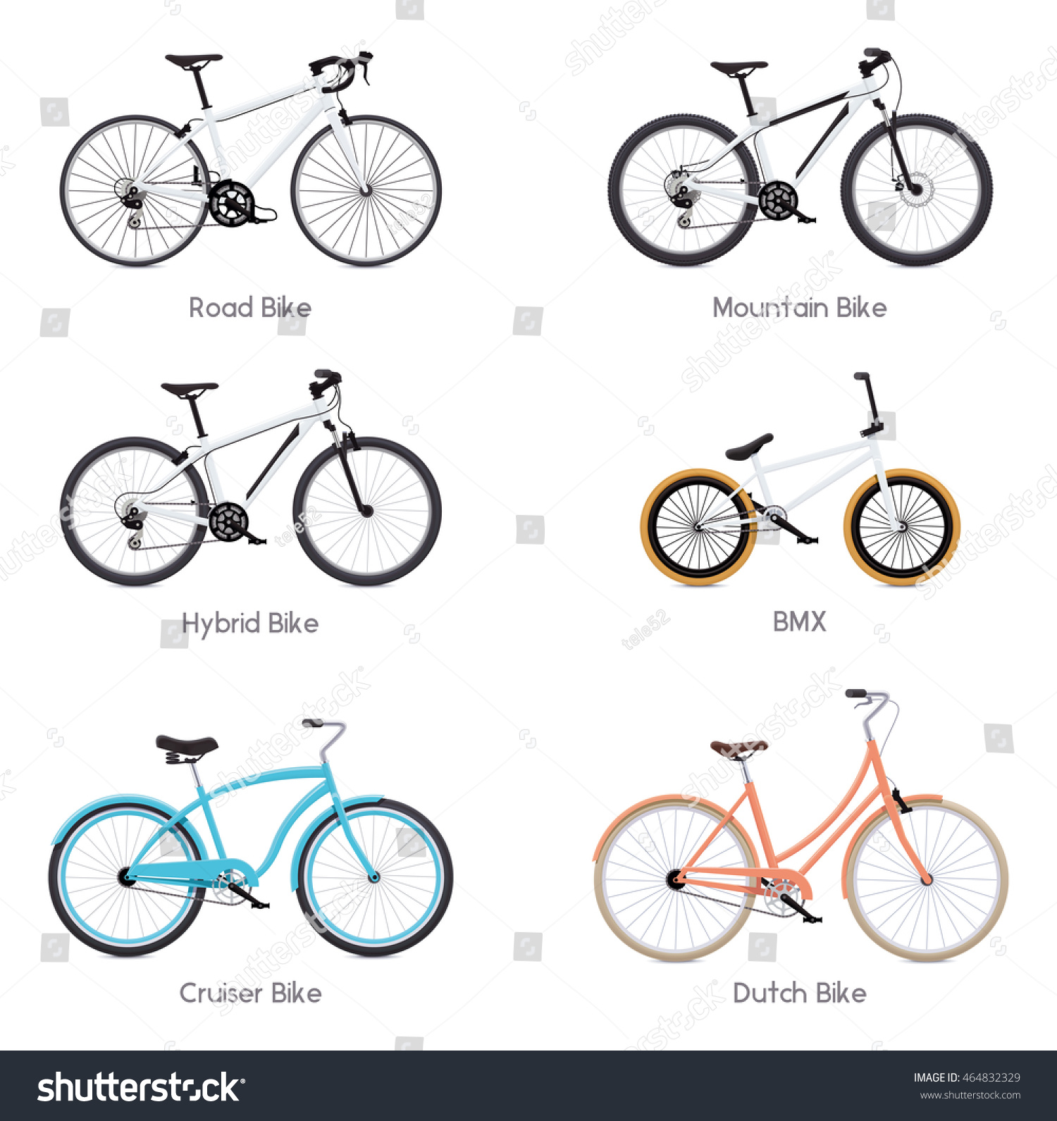 Set Different Vector Bicycles Road Bike Stock Vector 464832329