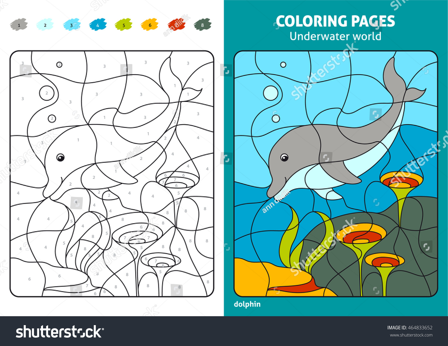 Underwater World Coloring Page Kids Dolphin Stock Vector (Royalty ...