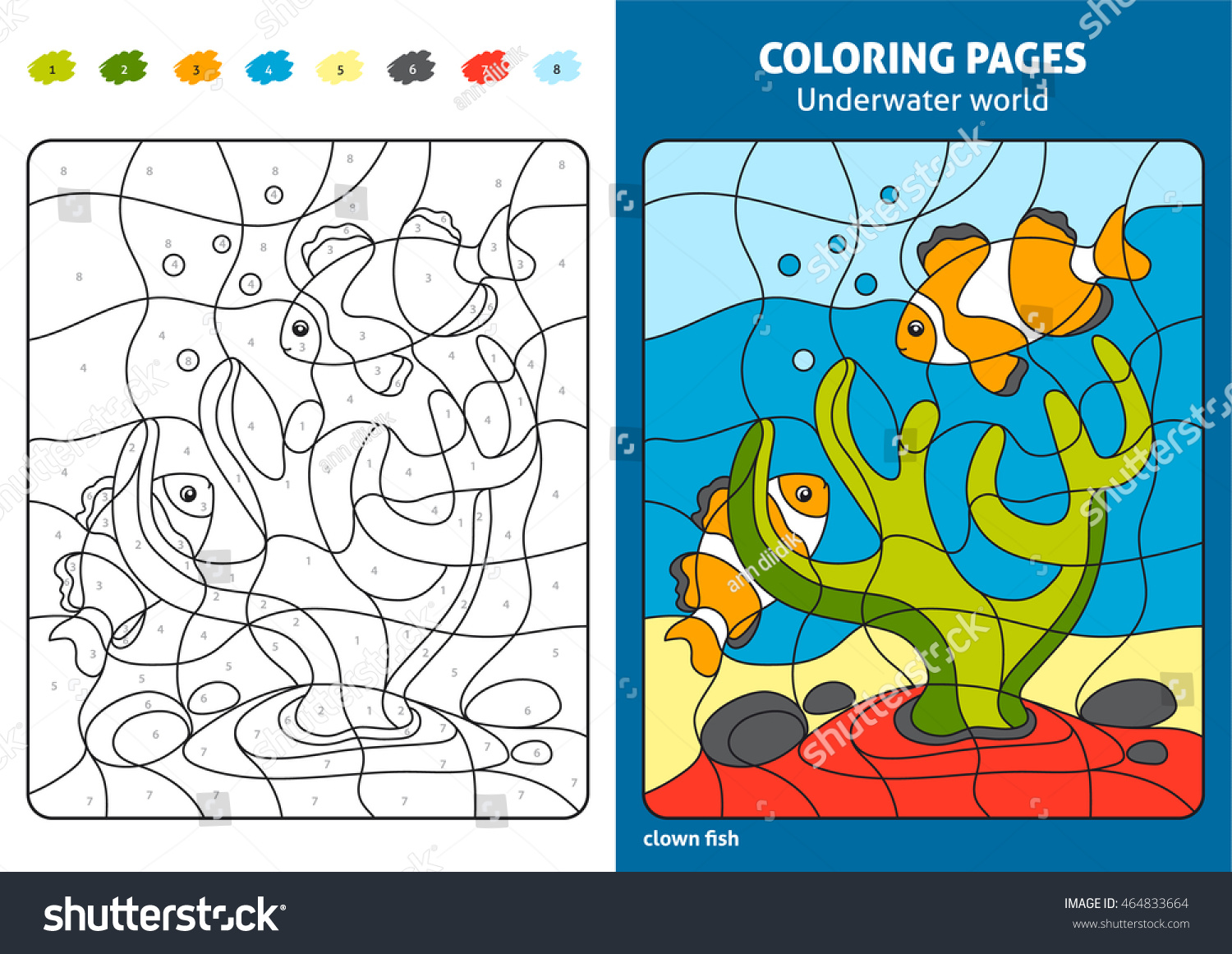 Underwater World Coloring Page Kids Reef Stock Vector (Royalty Free ...