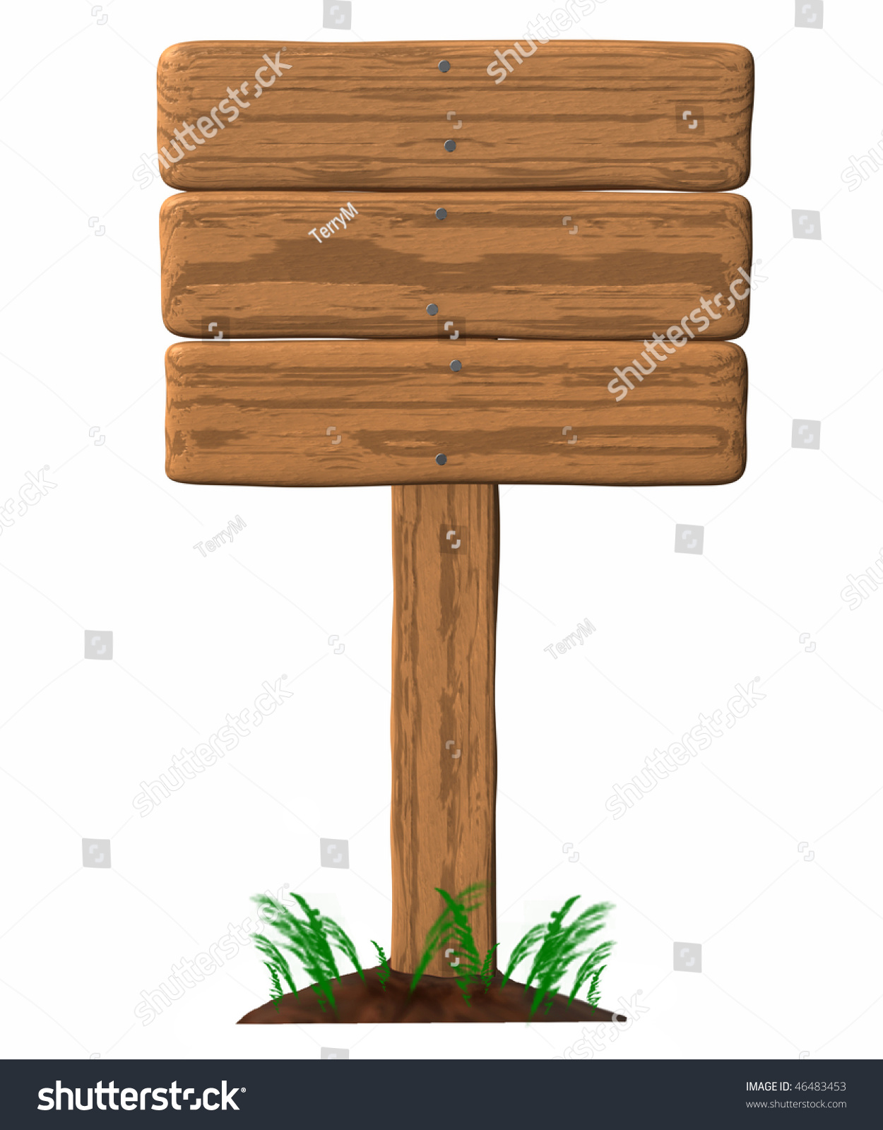 Blank Wooden Sign Post On Dirt Stock Illustration 46483453 ...
