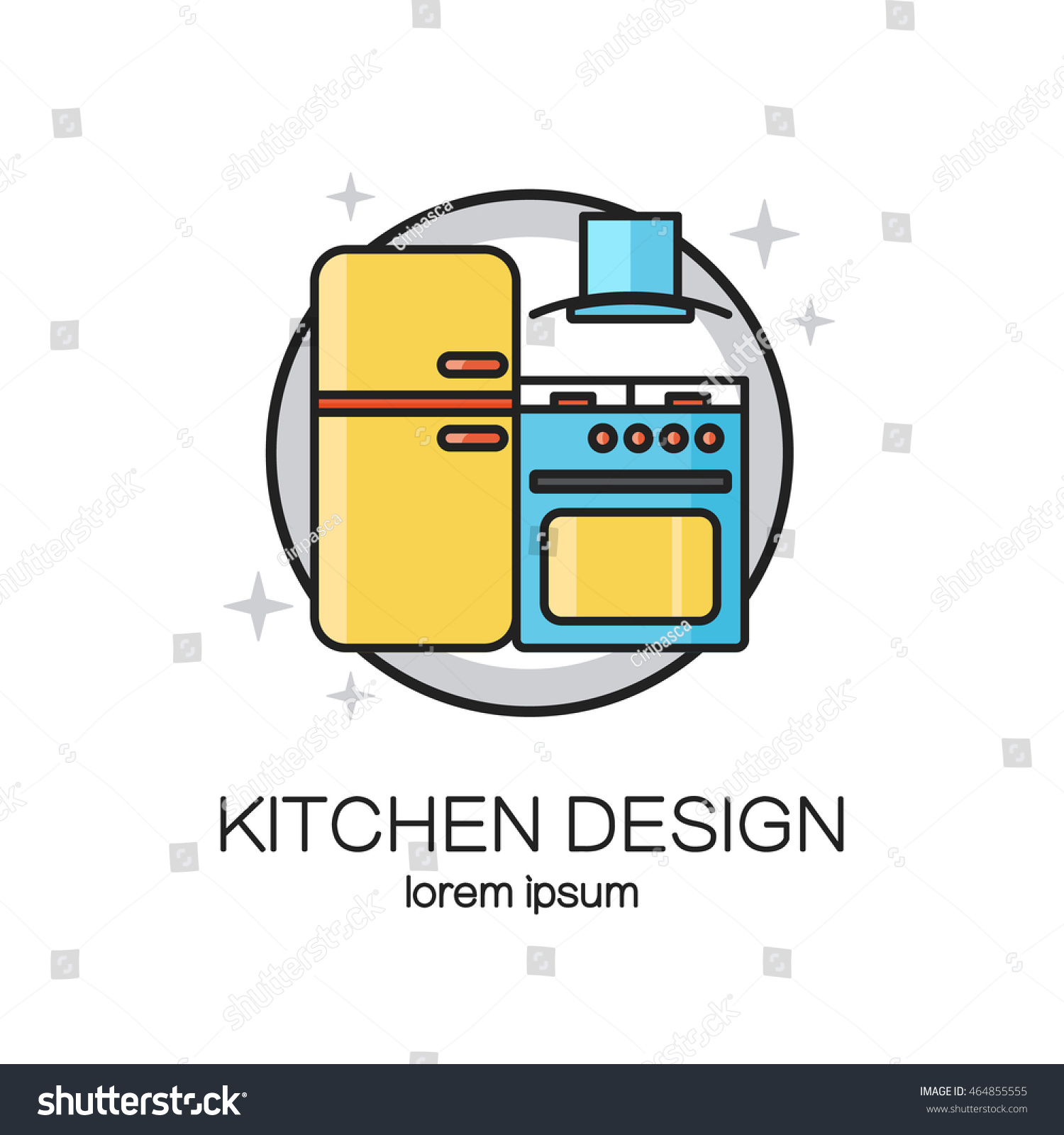 Kitchen Design Line Icon Web Logo Stock Vector HD (Royalty Free ...