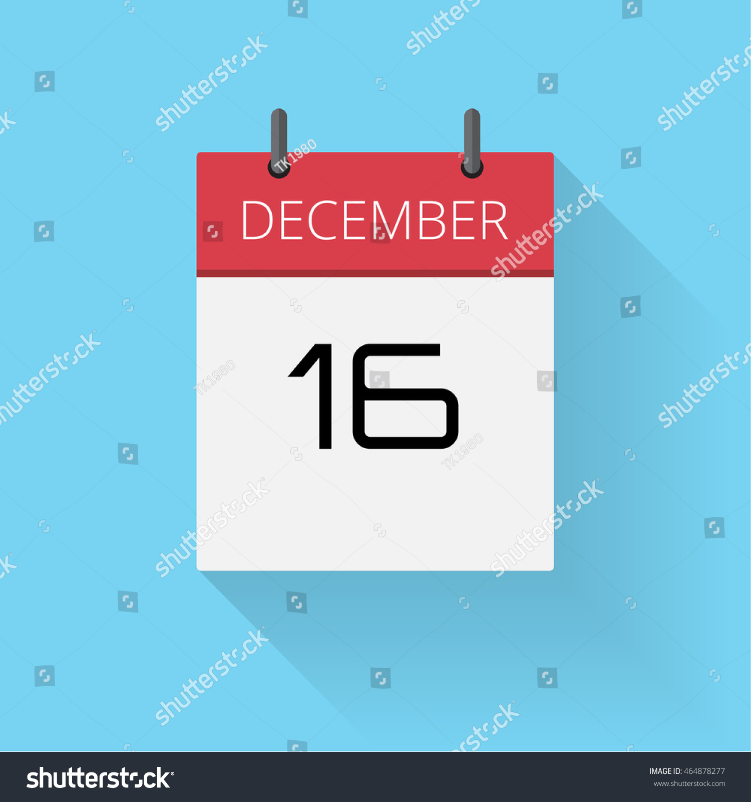 Daily Holiday Calendar.December 16 Daily Calendar Icon Date Stock Vector Royalty Free