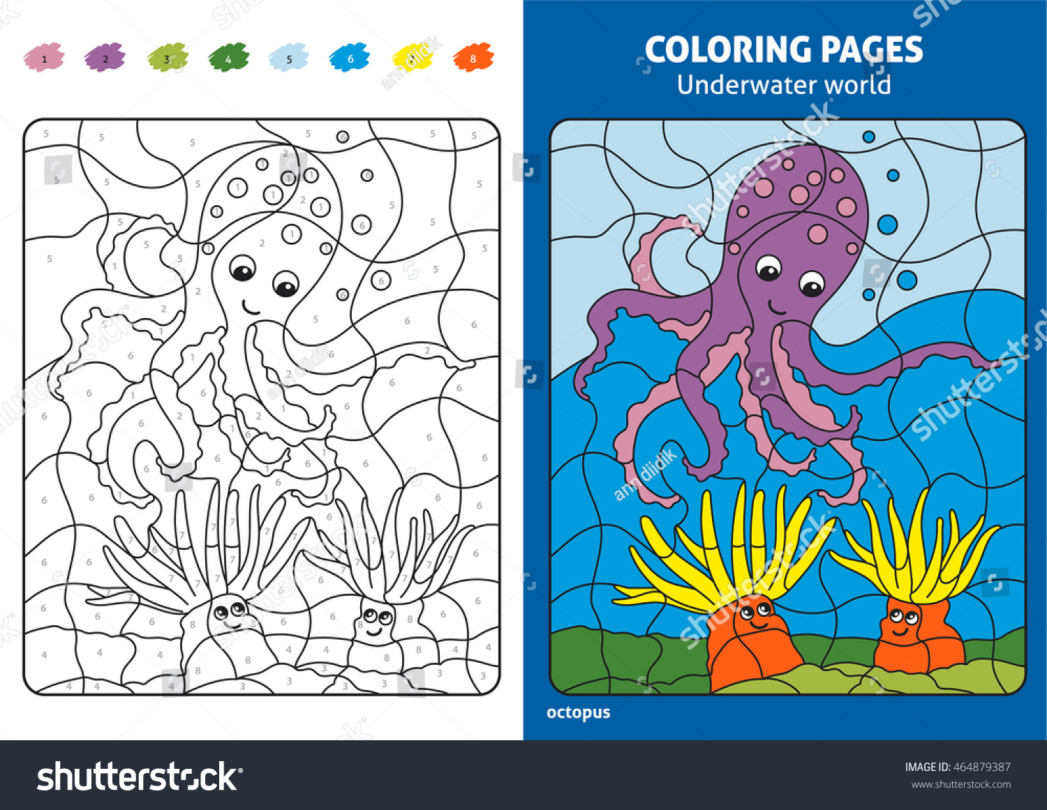 Underwater World Coloring Page Kids Octopus Stock Vector (Royalty ...