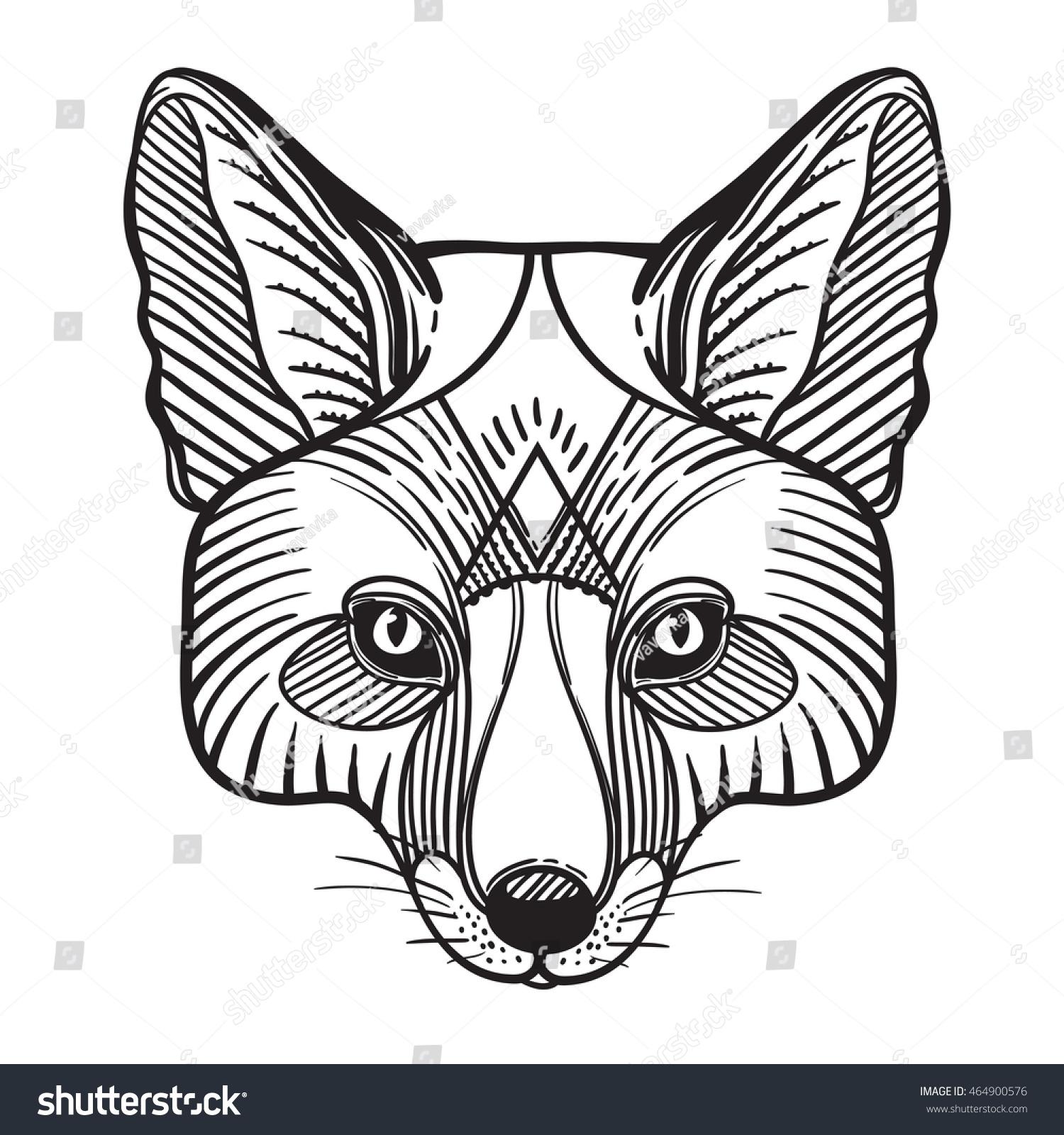 animal fox head print anti stock vector 464900576 shutterstock