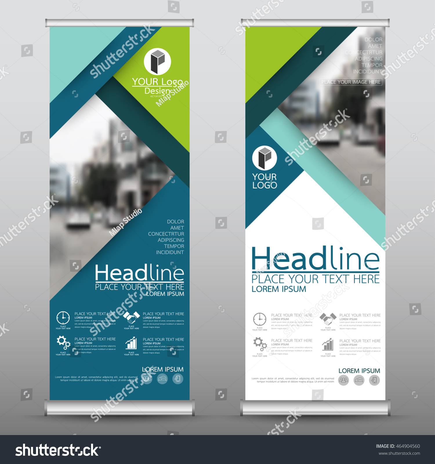 Green roll up business brochure flyer banner design vertical template - Blue And Green Roll Up Business Banner Design Vertical Template Vector Cover Presentation Abstract Geometric