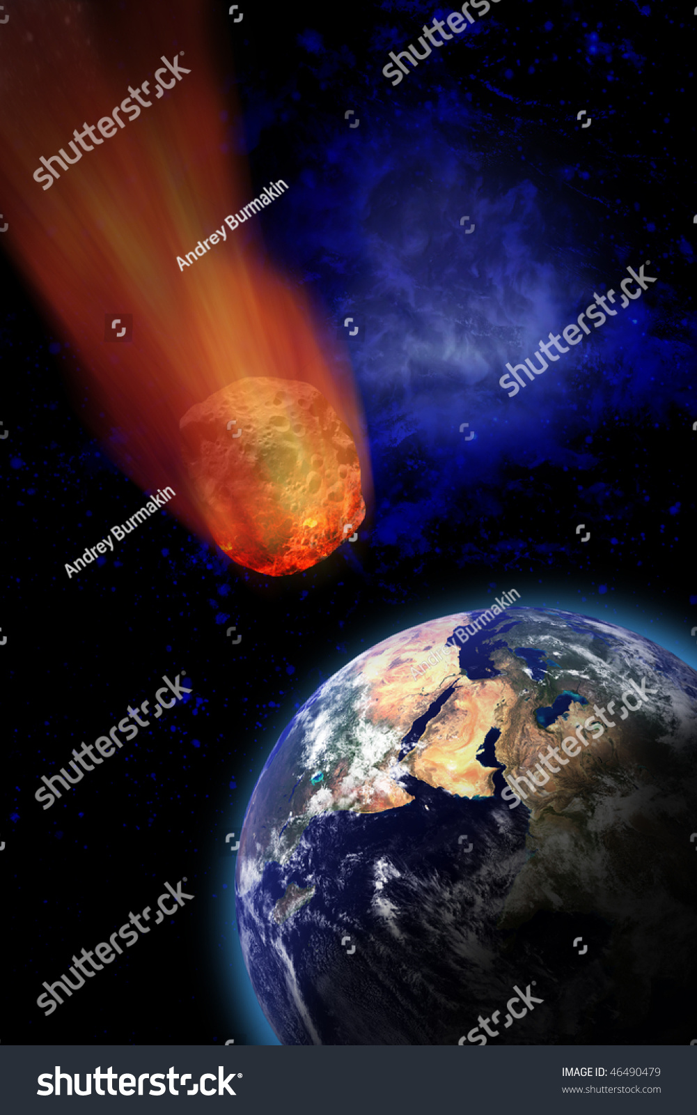 Meteor Falling To The Earth Stock Photo 46490479 ...