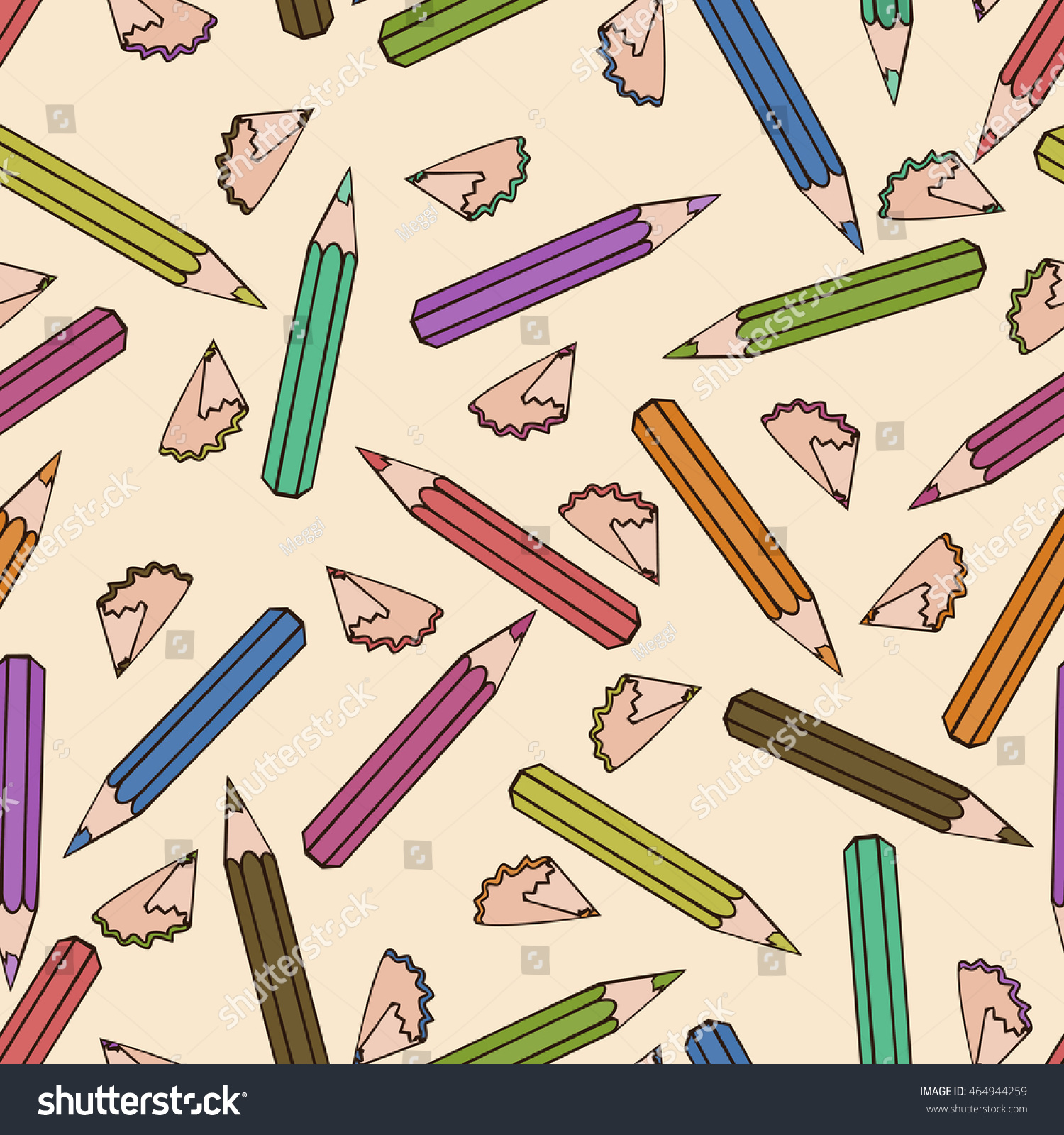 Seamless Pattern Background Pencil School Design Stock Vector Royalty Free 464944259