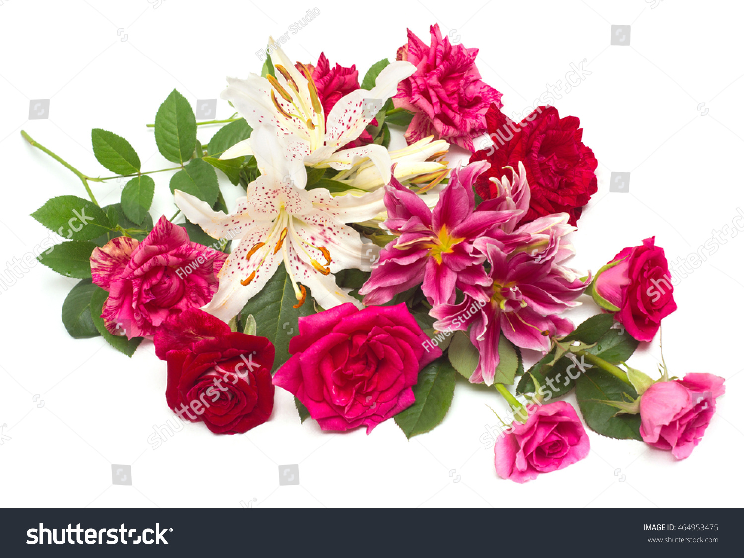 Beautiful Bouquet Roses Lilies Isolated On Stock Photo (Edit Now ...
