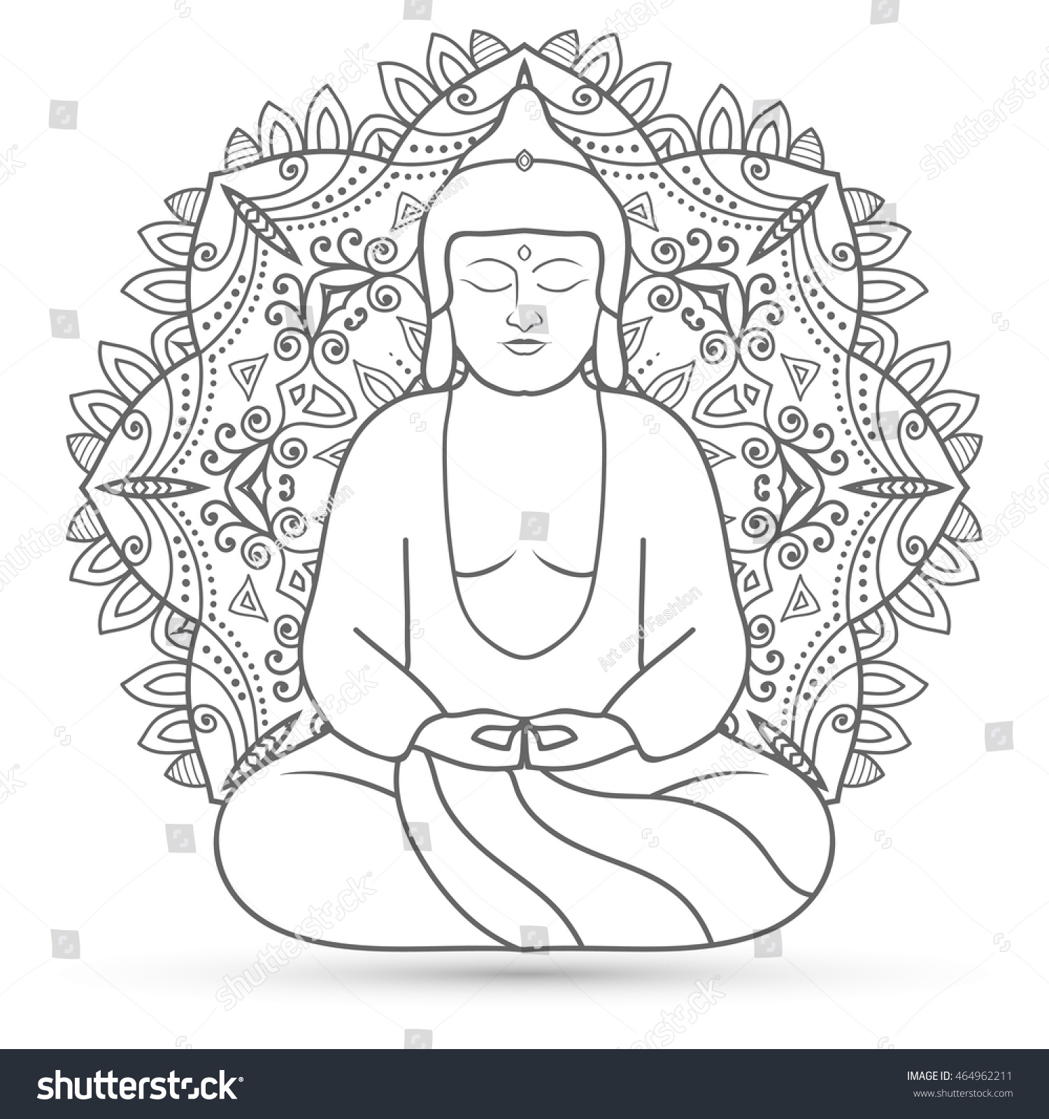sitting buddha over mandala round pattern stock vector 464962211