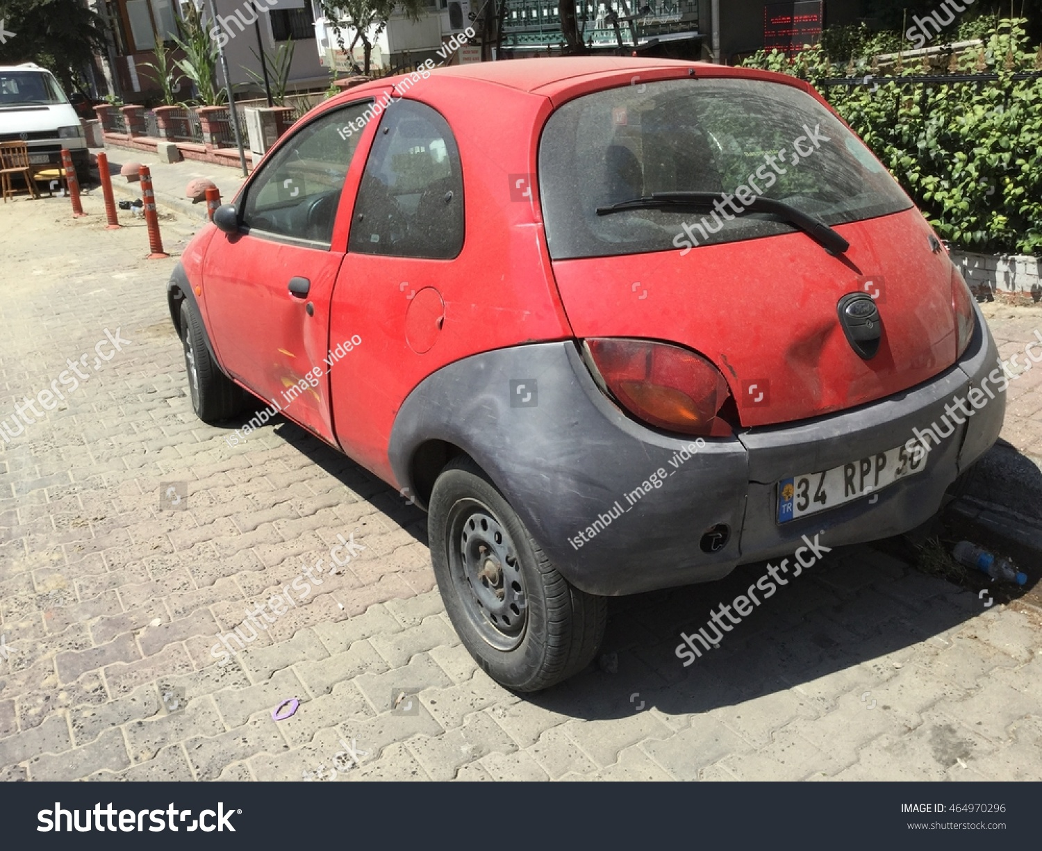 Istanbul Turkey August  Red Ford Ka At The City Street