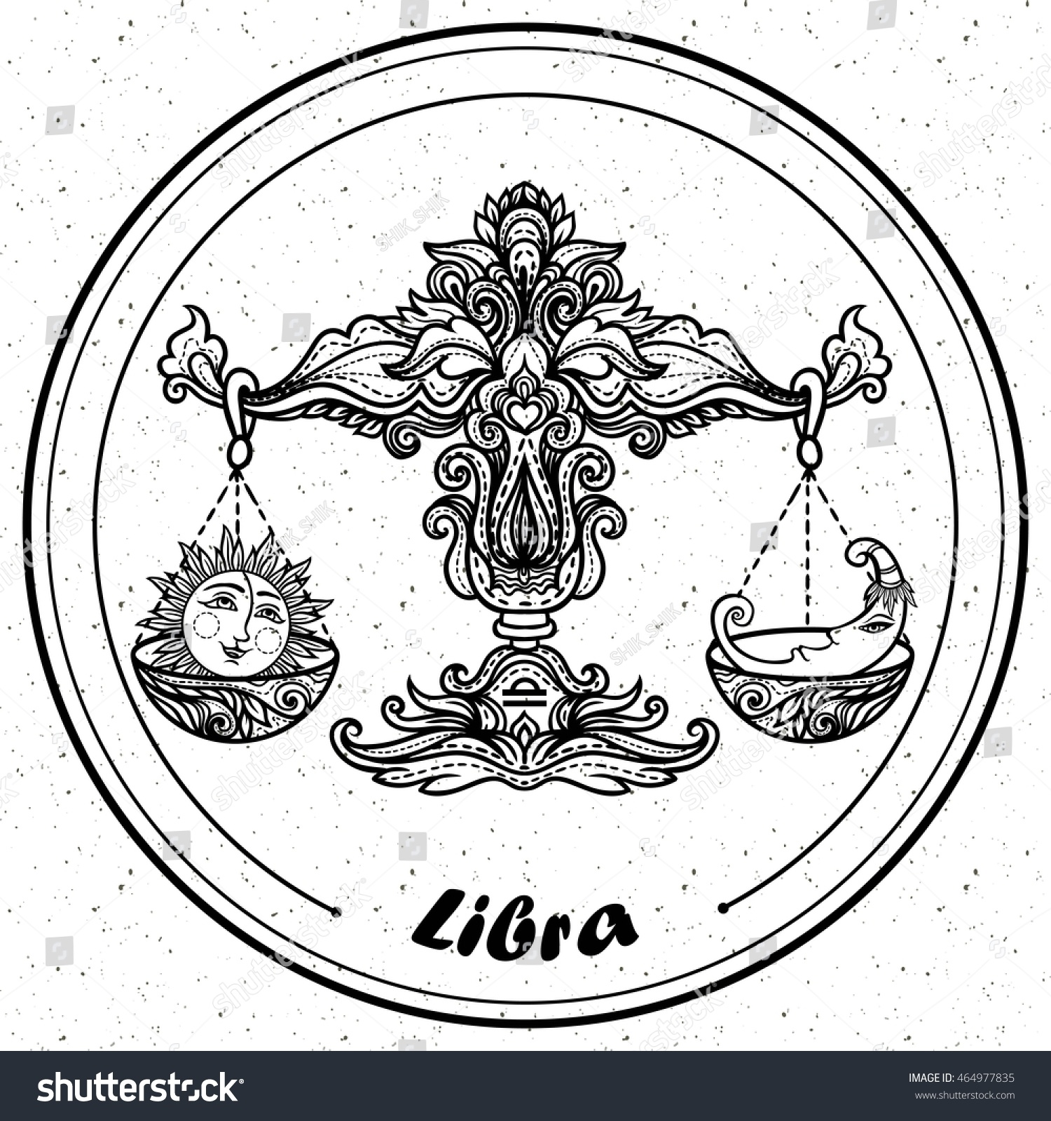 detailed libra aztec filigree line art stock vector 464977835