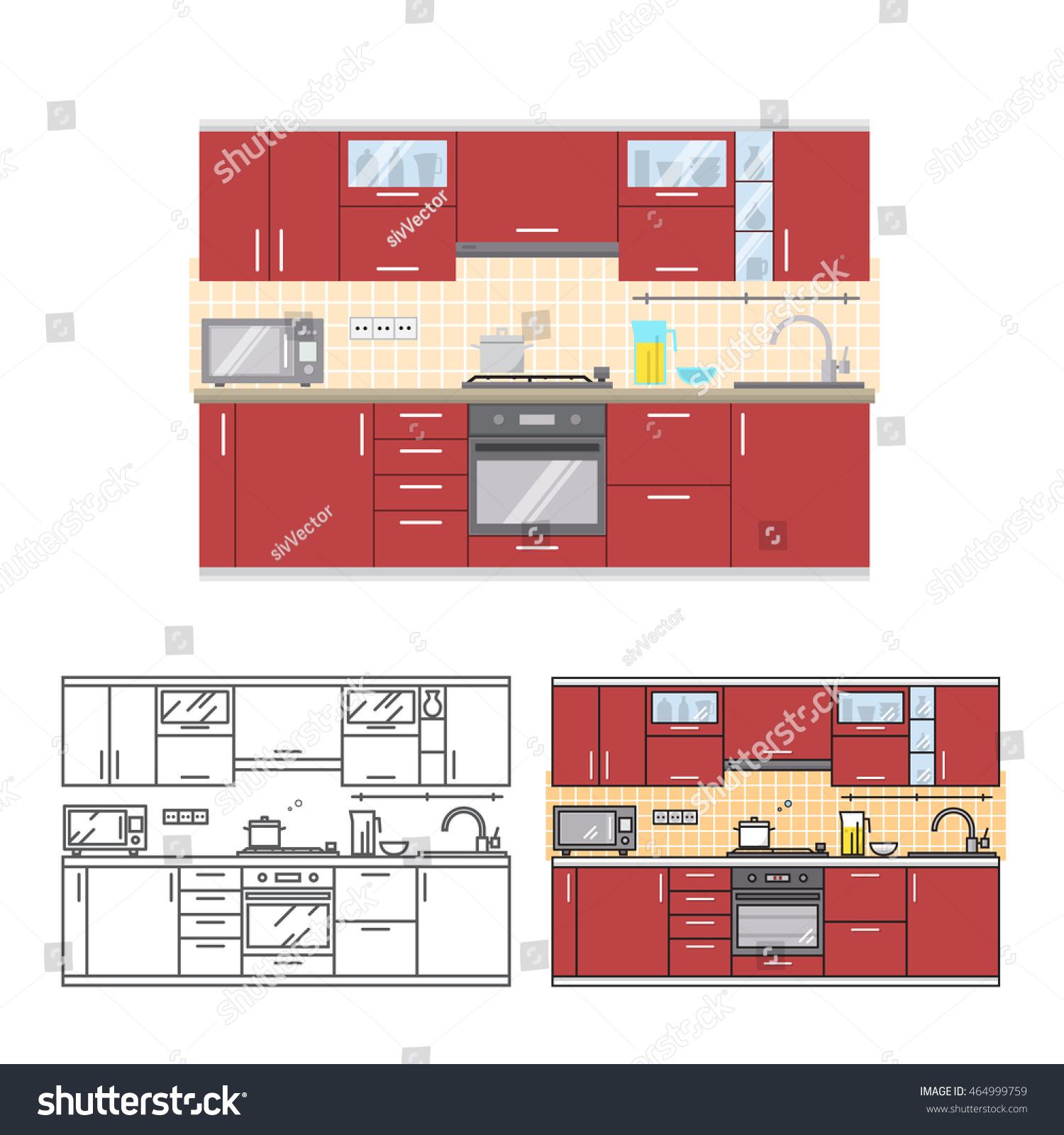 Modern Kitchen Wall Interior Web Design Stock Vector 464999759 ...