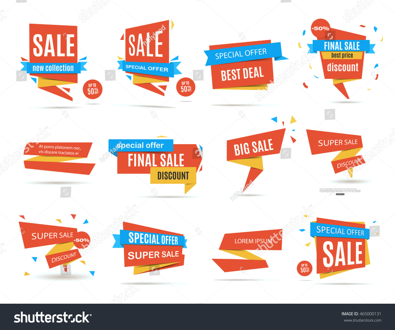 Set of red sale discount and promotion banners Label collection Banner design Sale tag Sale element Sale poster Discount set Discount template Vector illustration eps 10